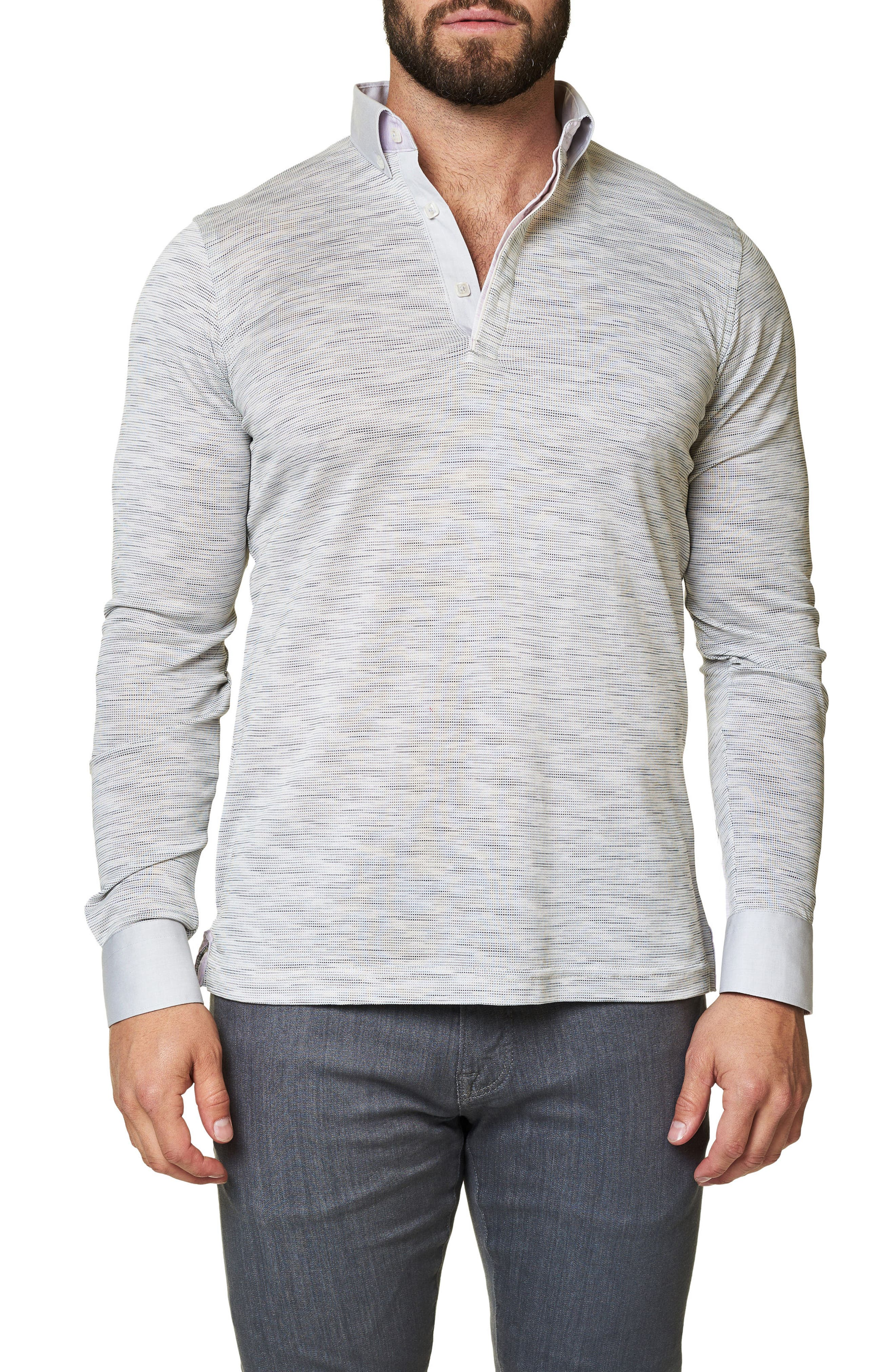 Print Long Sleeve Polo,                         Main,                         color, 114