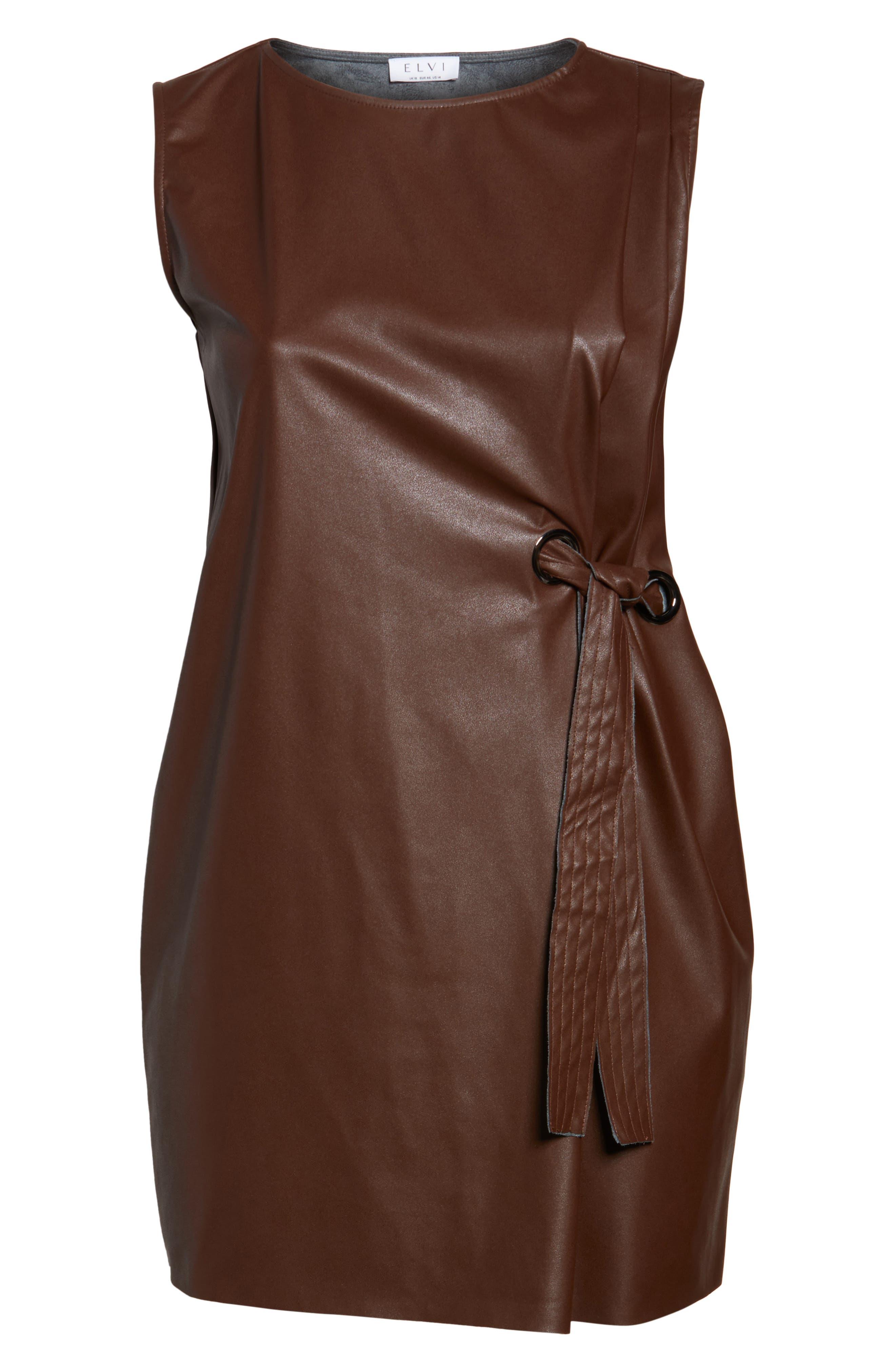 Faux Leather Shift Dress,                             Alternate thumbnail 6, color,                             230