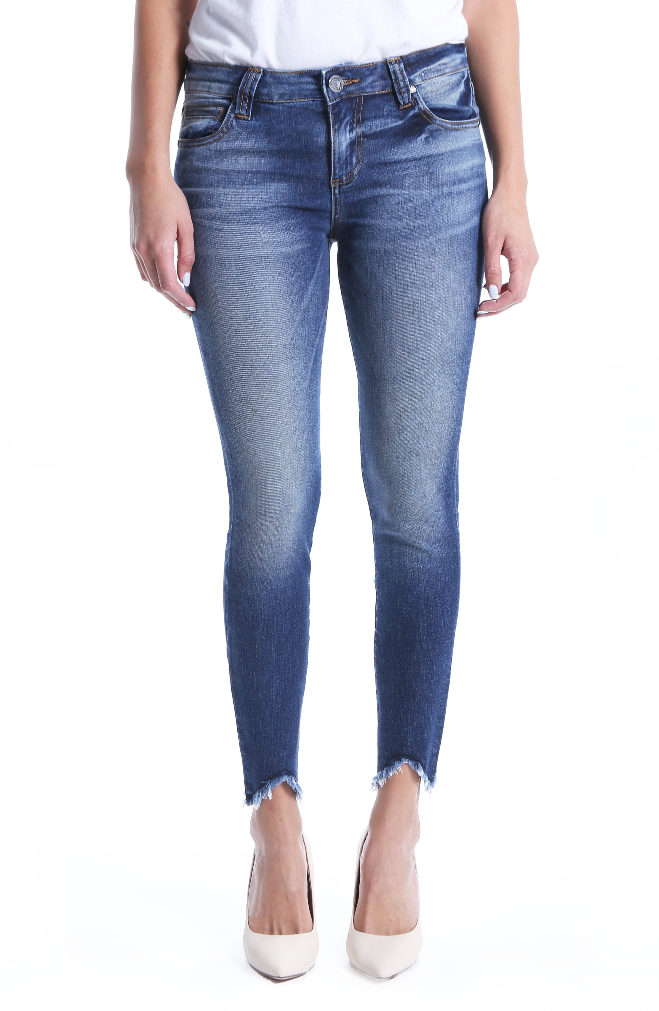 Connie Ankle Skinny Frayed Hem Jeans,                             Main thumbnail 1, color,                             400