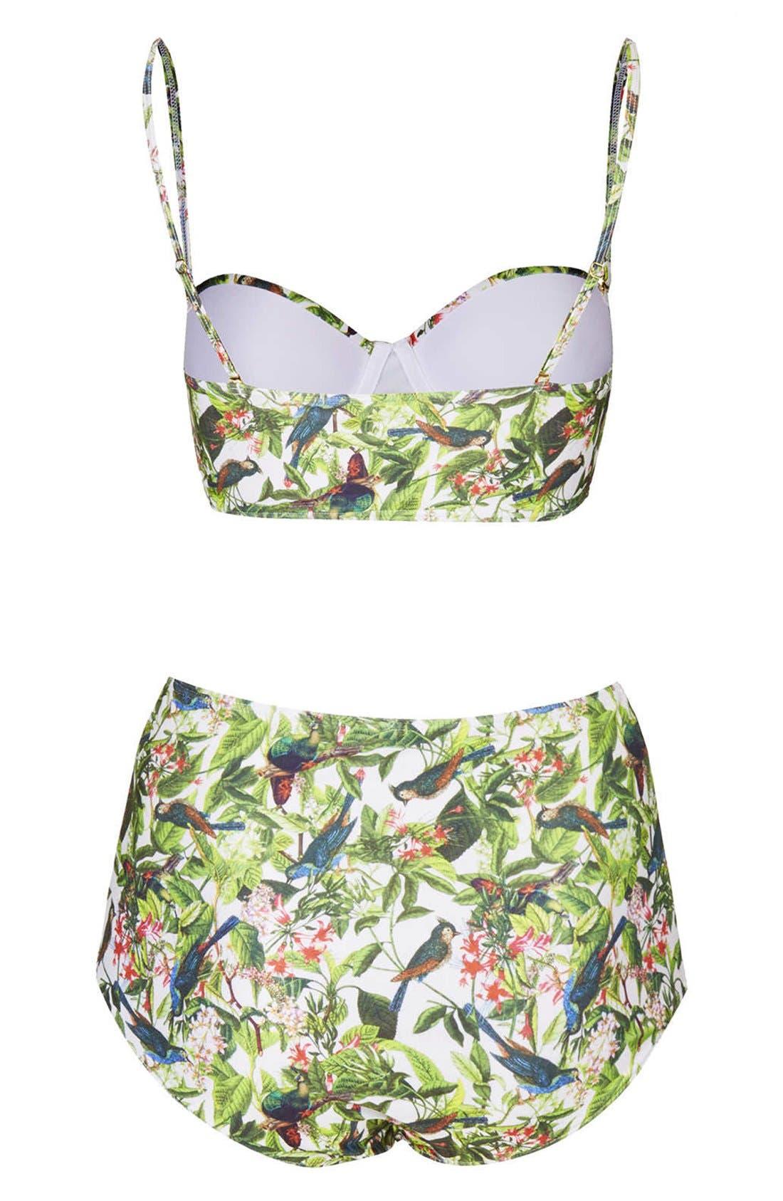 Leaf Print High Rise Bikini,                             Alternate thumbnail 2, color,                             100