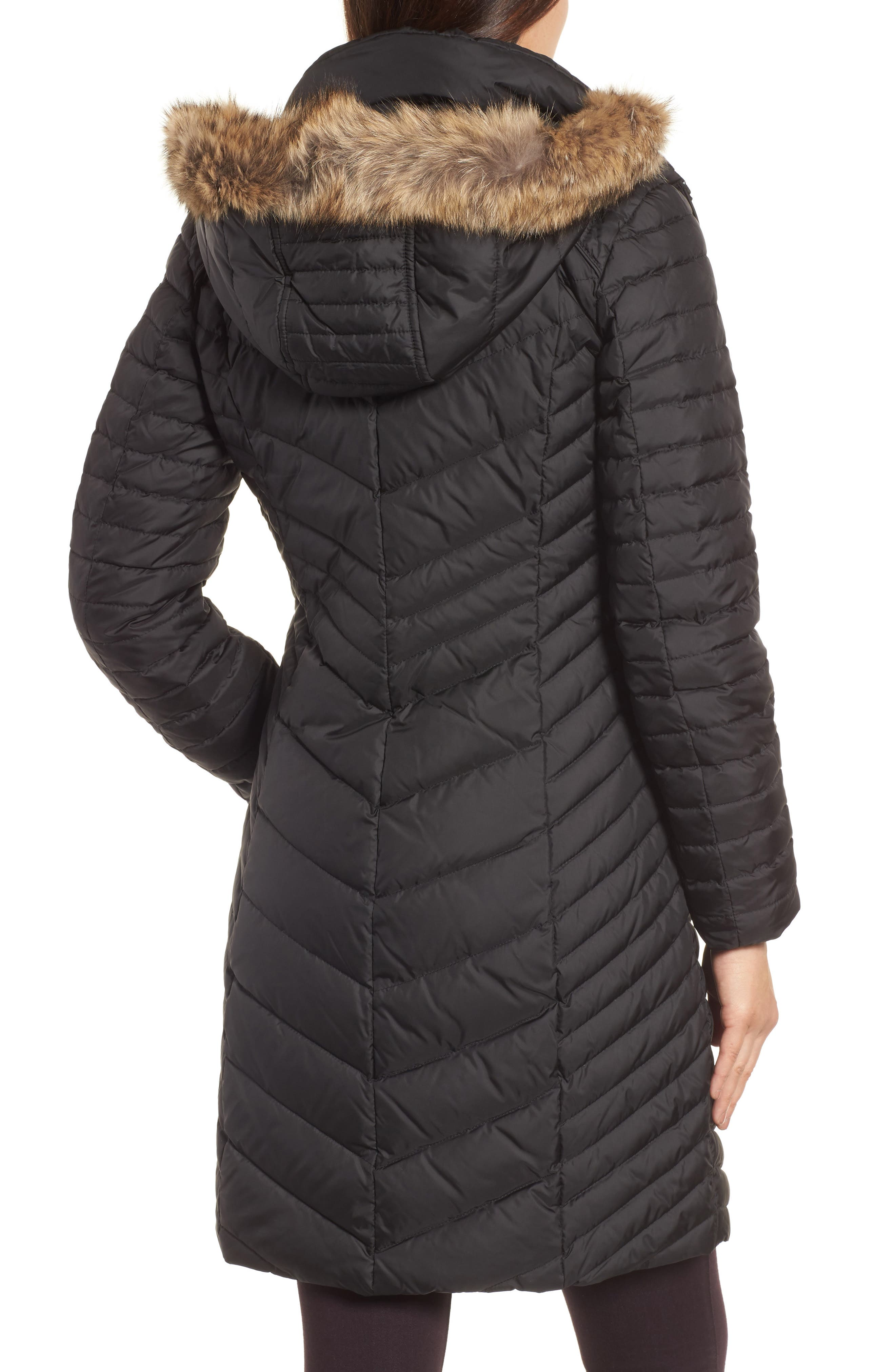 Chevron Quilted Coat with Genuine Coyote Fur Trim,                             Alternate thumbnail 4, color,