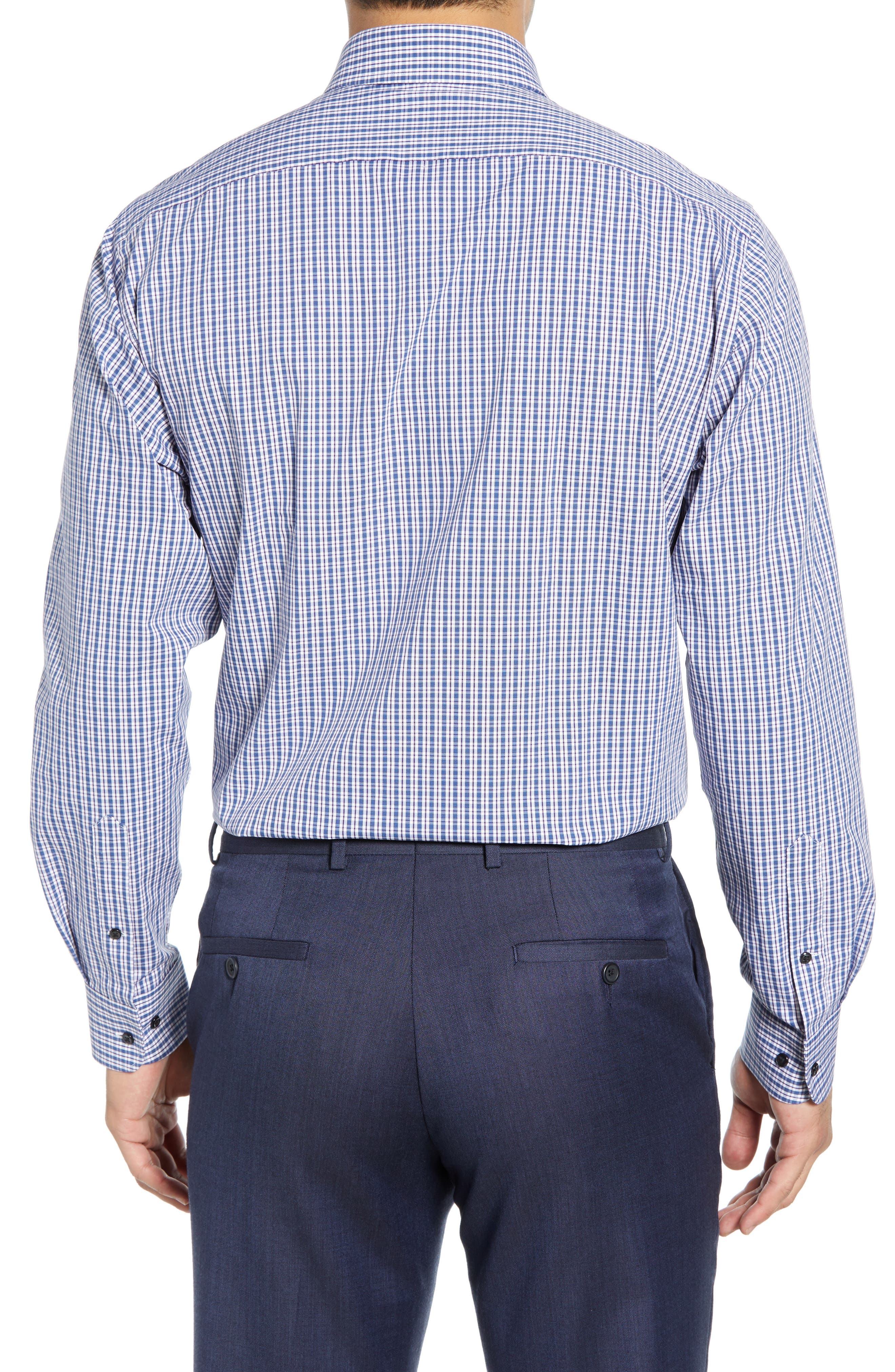 Tech-Smart Traditional Fit Plaid Stretch Dress Shirt,                             Alternate thumbnail 3, color,                             NAVY DUSK