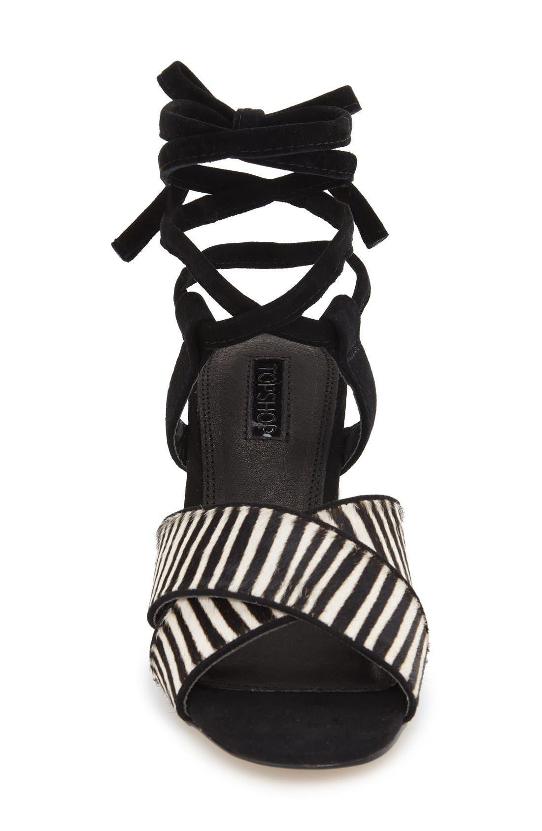 TOPSHOP,                             'Raffle' Ankle Strap Sandal,                             Alternate thumbnail 3, color,                             001