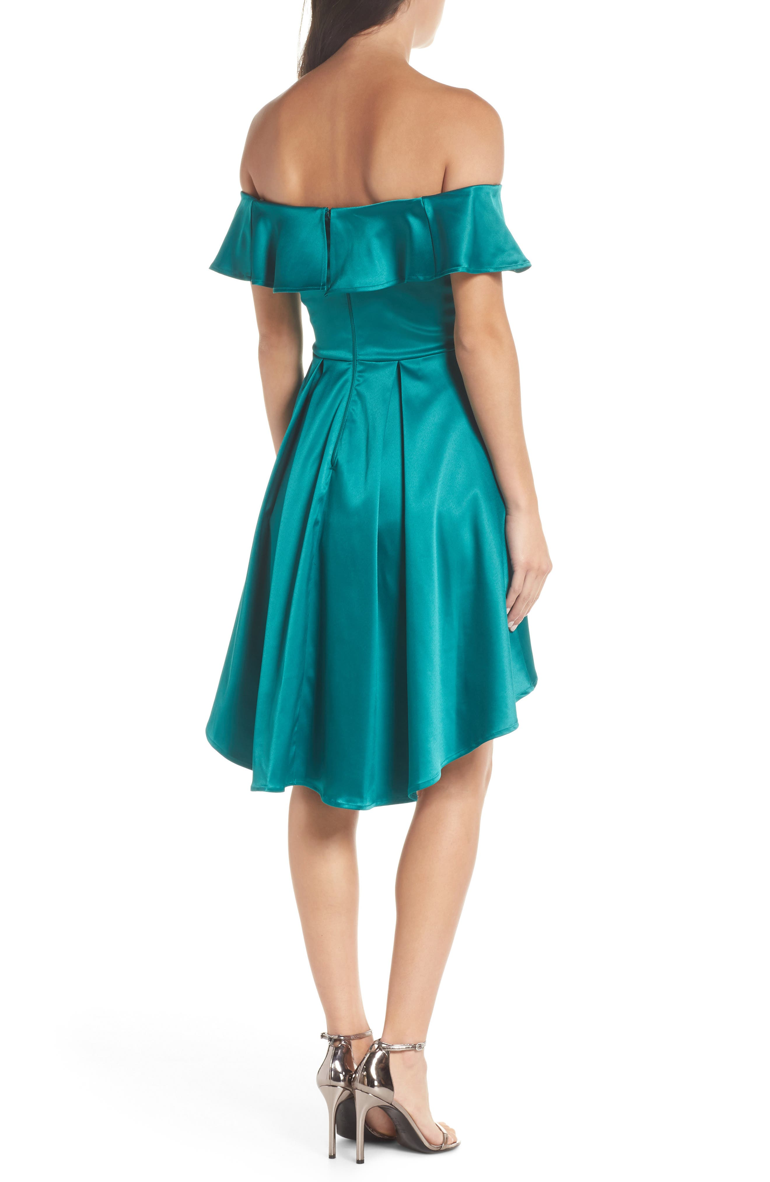 Off the Shoulder Satin High/Low Cocktail Dress,                             Alternate thumbnail 2, color,                             EMERALD