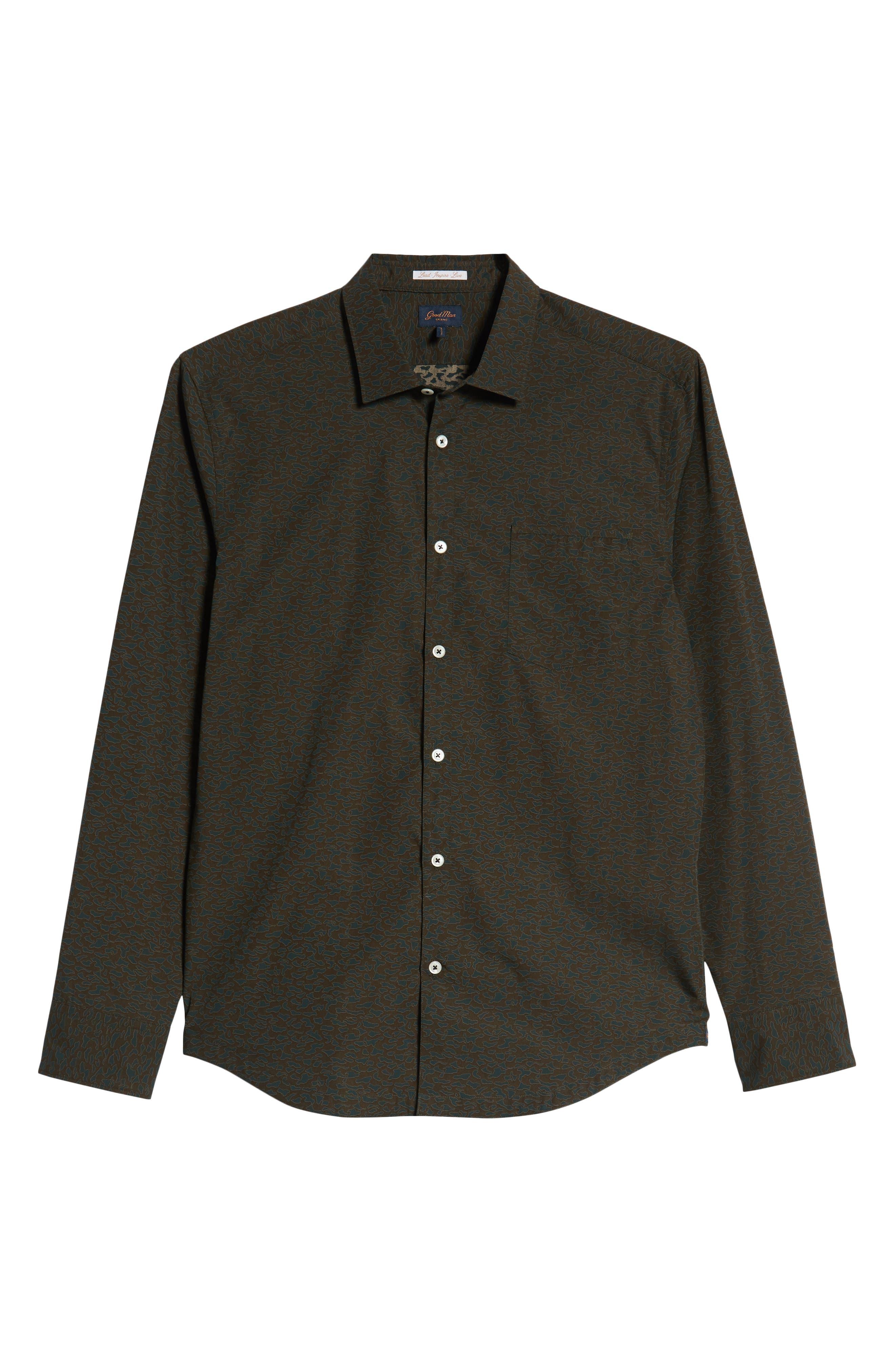 Camo Slim Fit Cotton Sport Shirt,                             Alternate thumbnail 5, color,                             FOREST