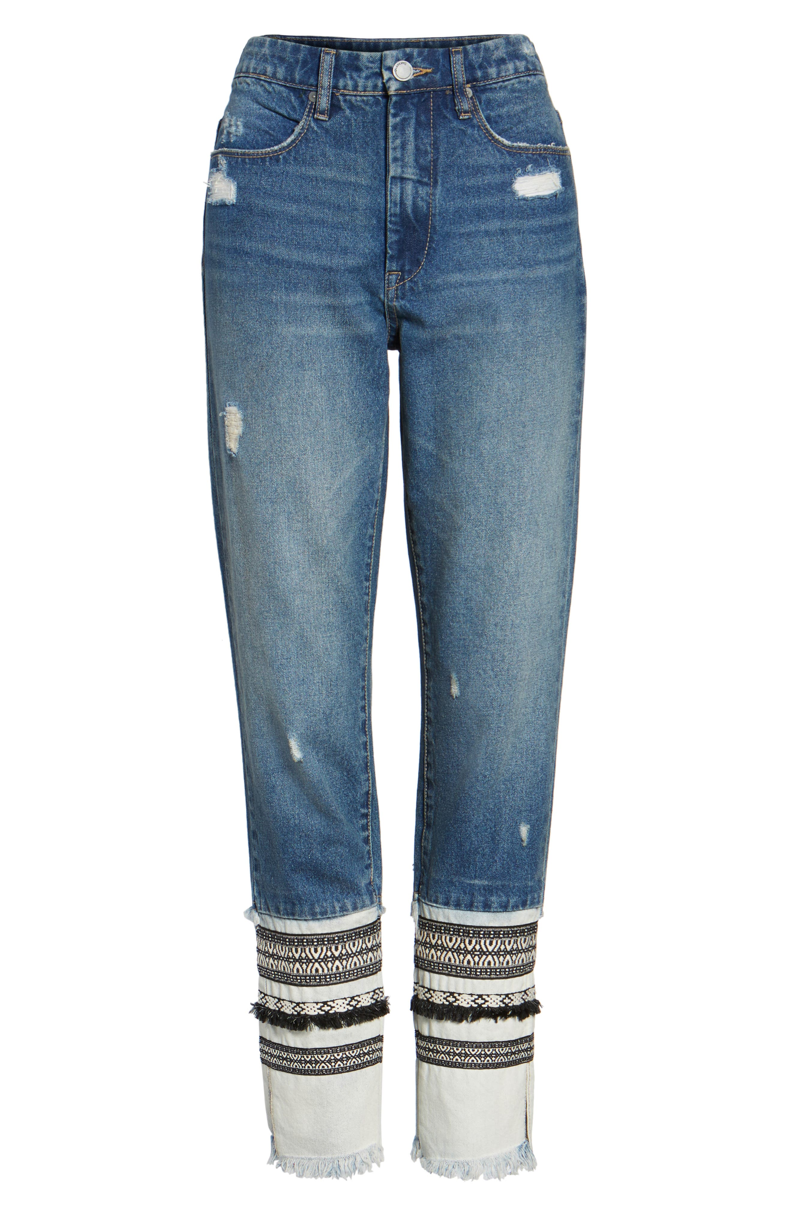 Embellished Straight Leg Jeans,                             Alternate thumbnail 6, color,                             400