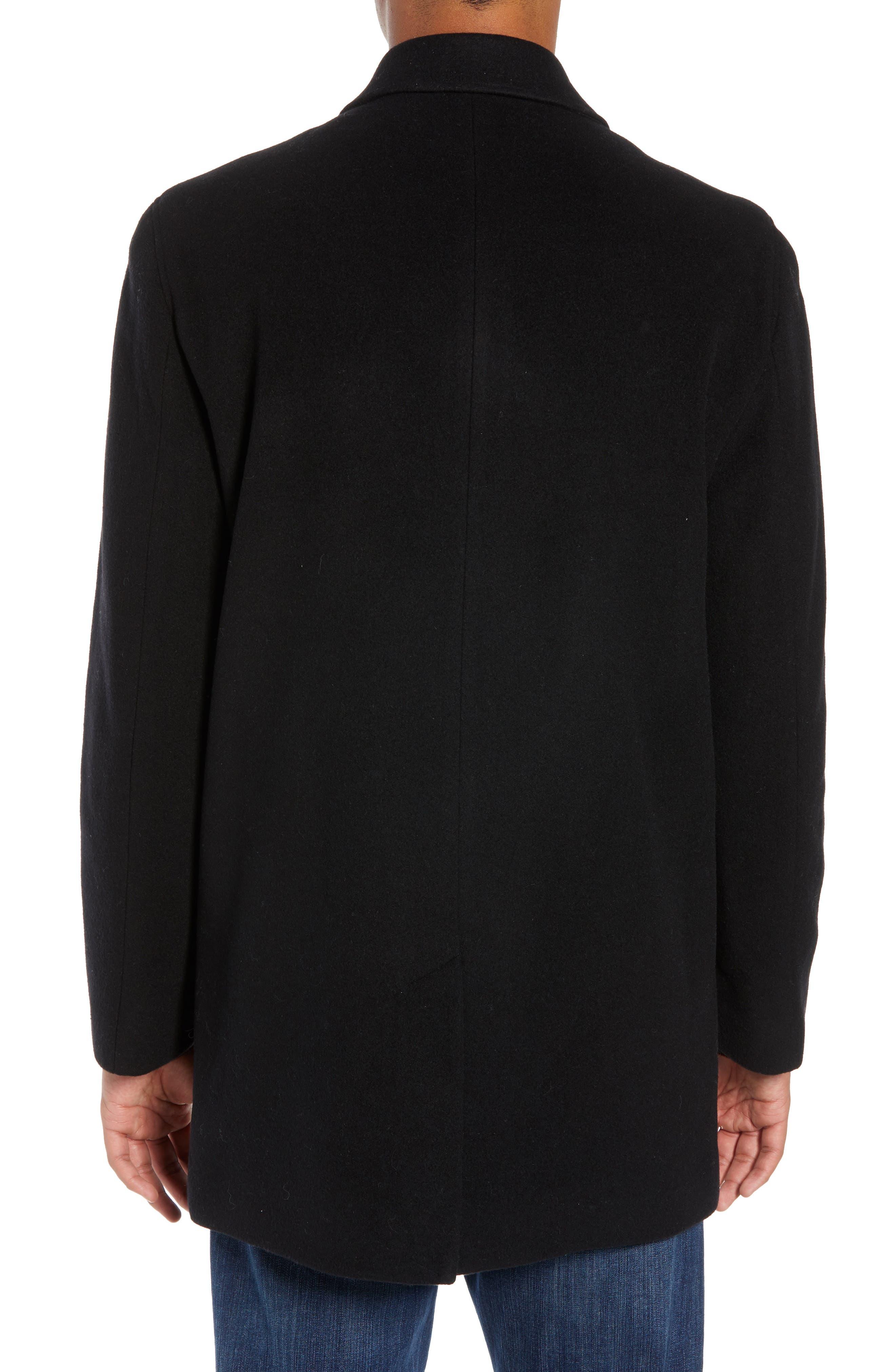 Italian Wool Blend Overcoat,                             Alternate thumbnail 3, color,                             BLACK