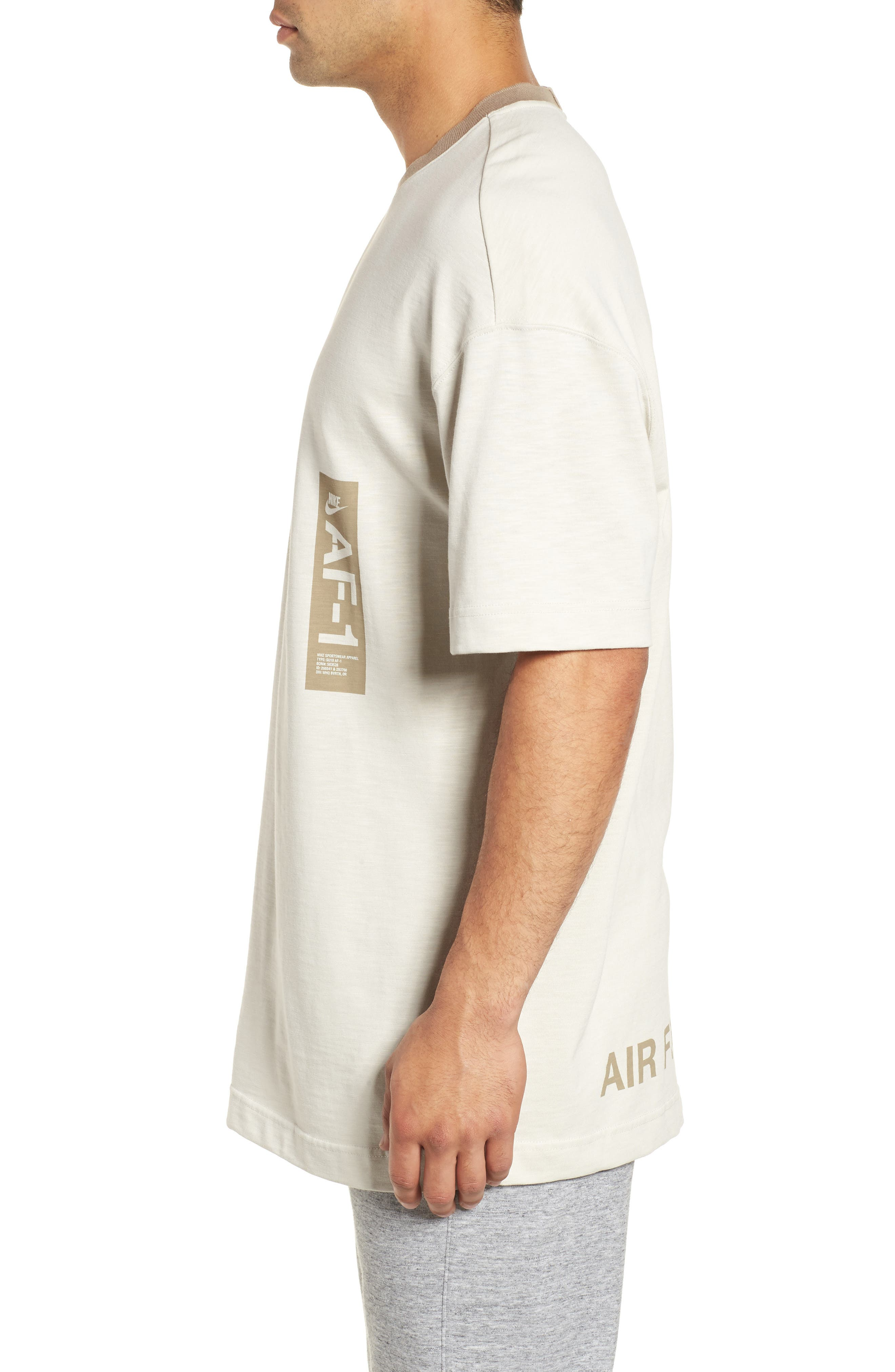 Sportswear AF1 Graphic T-Shirt,                             Alternate thumbnail 3, color,                             LIGHT BONE/ KHAKI