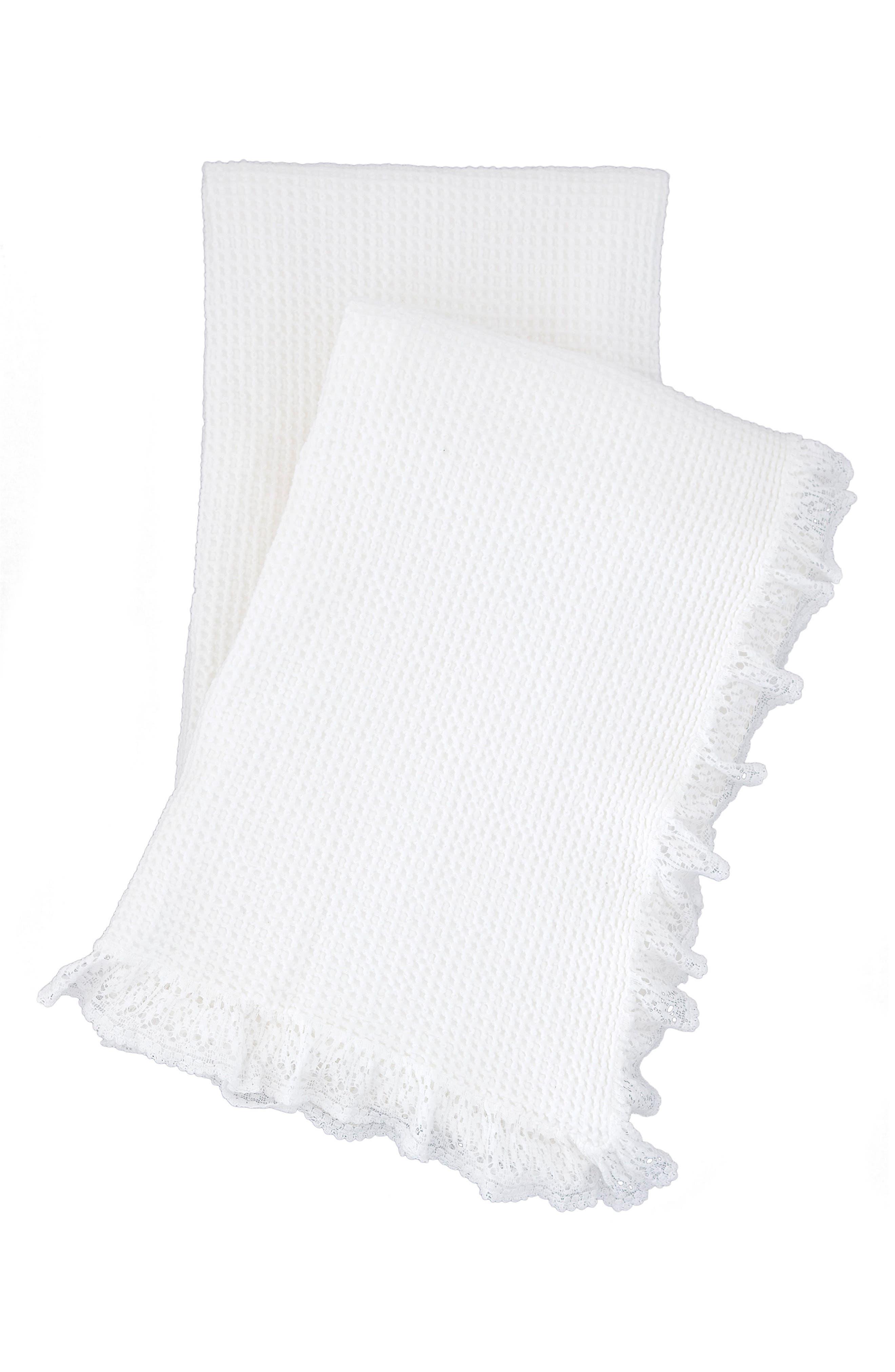 Lace Ruffle Throw,                             Main thumbnail 1, color,                             WHITE