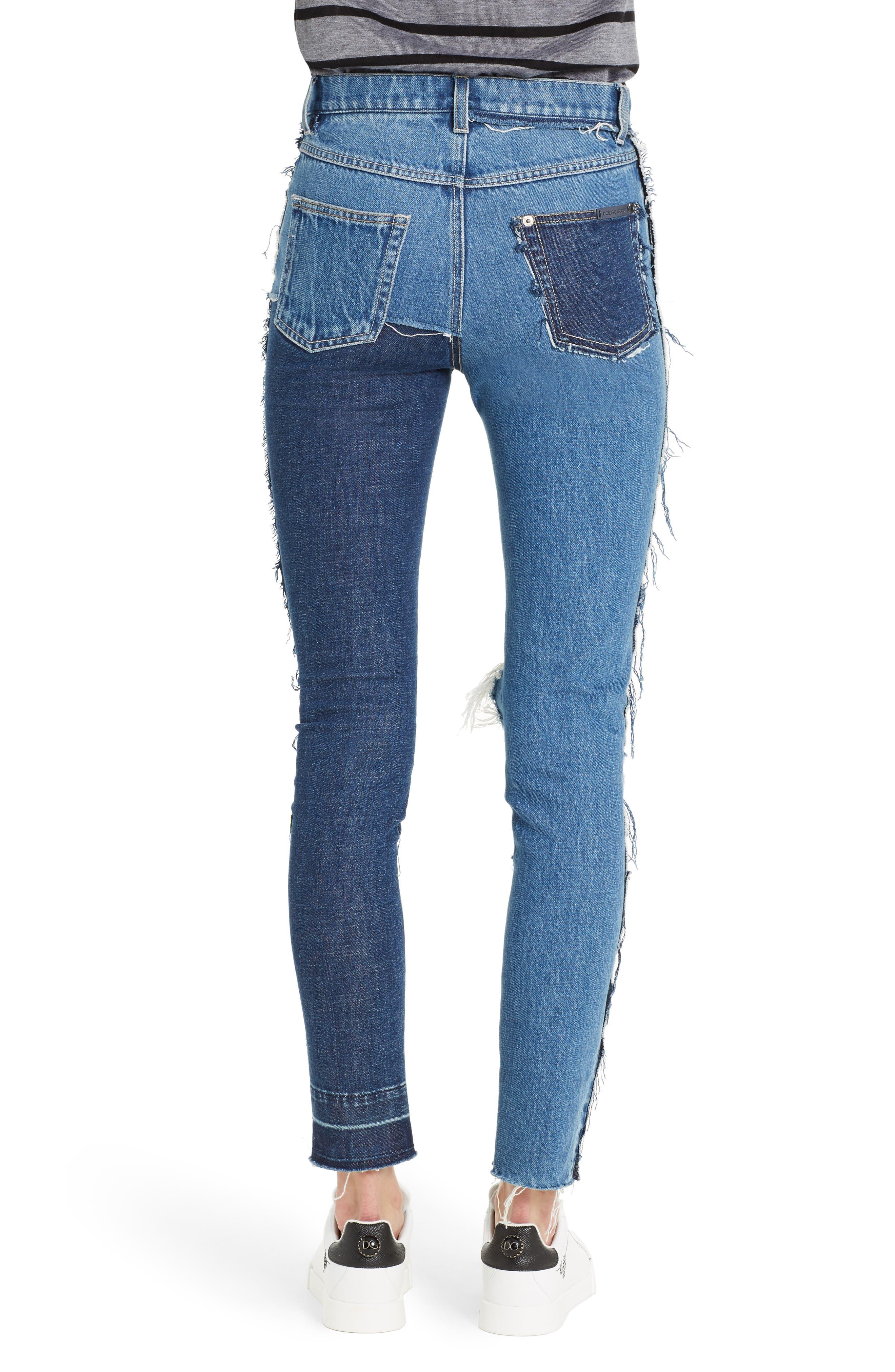 Embellished Patchwork Skinny Jeans,                             Alternate thumbnail 2, color,                             410