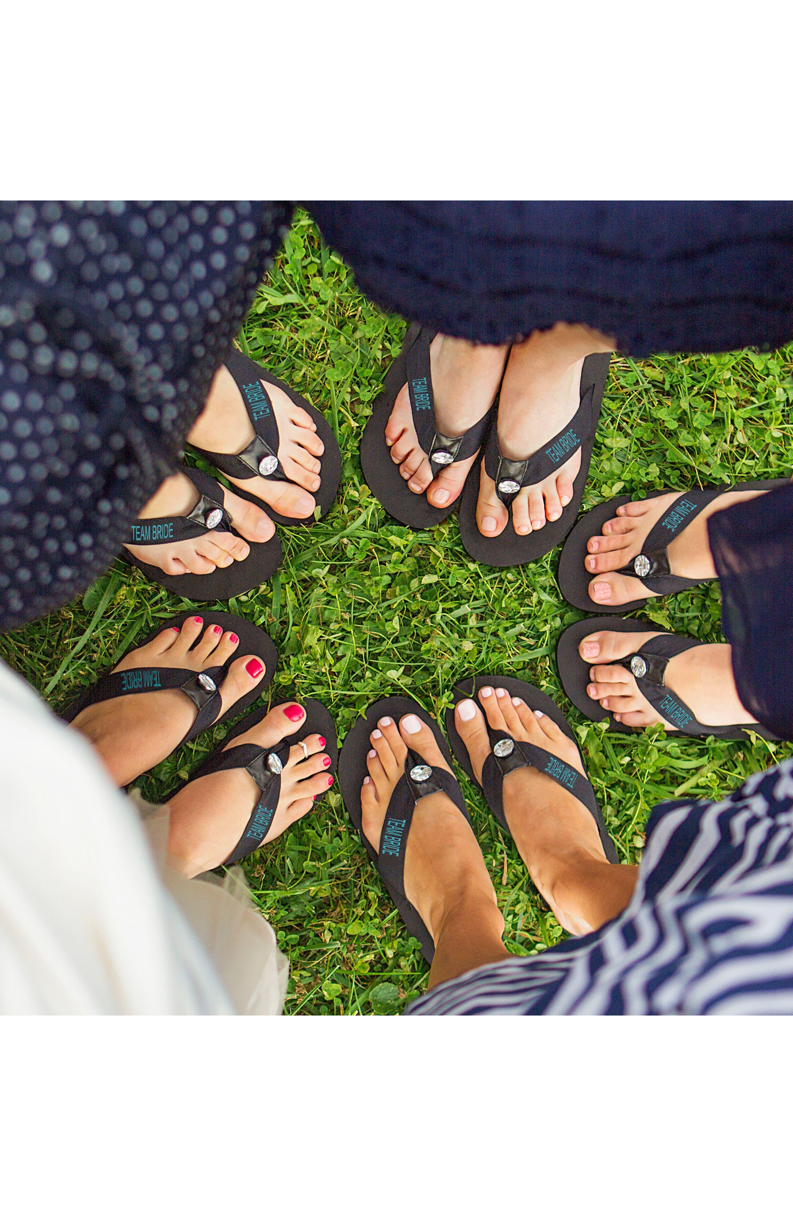 Team Bride Flip Flops,                             Alternate thumbnail 2, color,                             BLACK