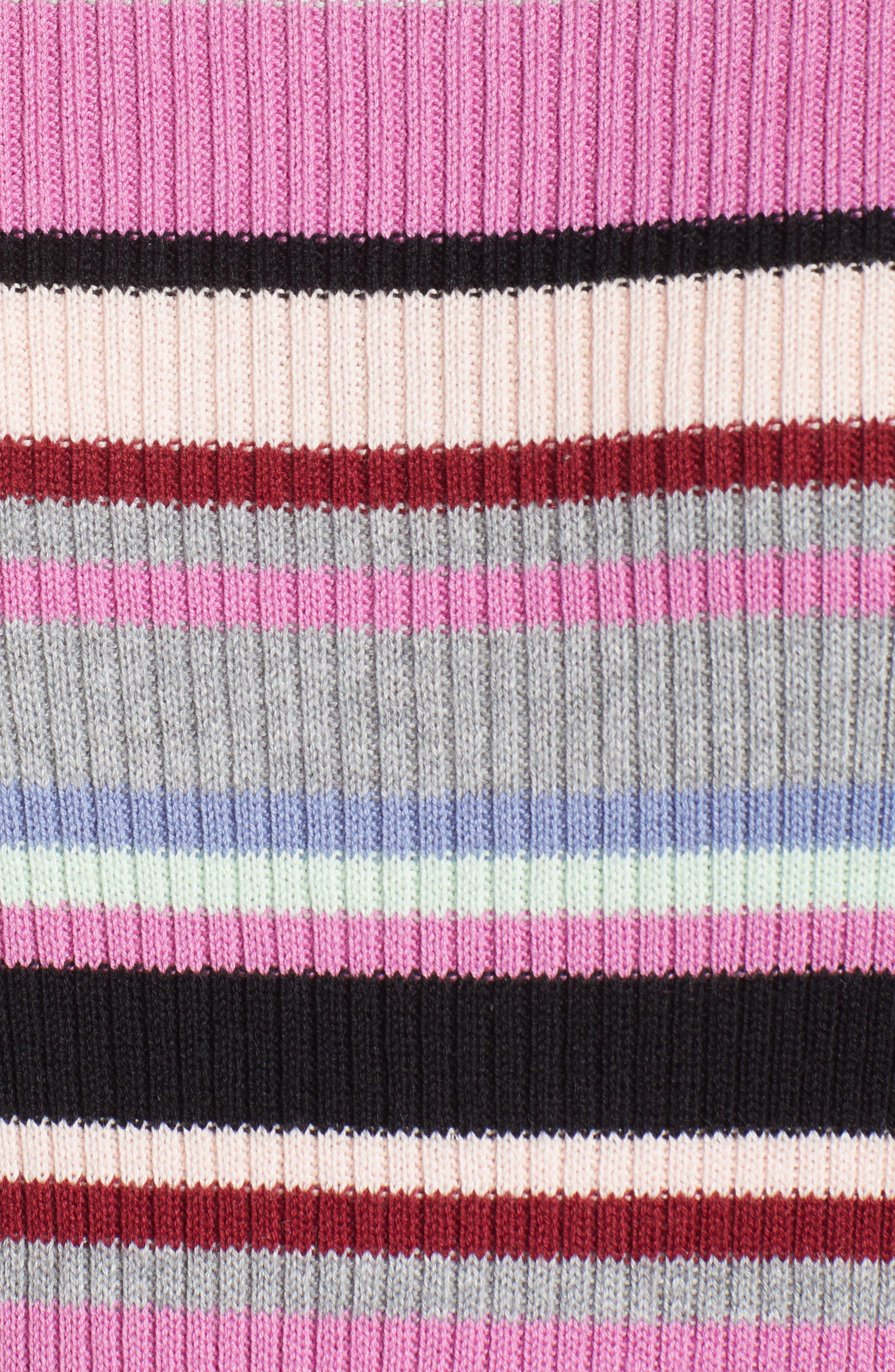 Ribbed Lettuce Edge Stripe Sweater,                             Alternate thumbnail 6, color,                             PURPLE TAFFY KARA MULTI STRIPE