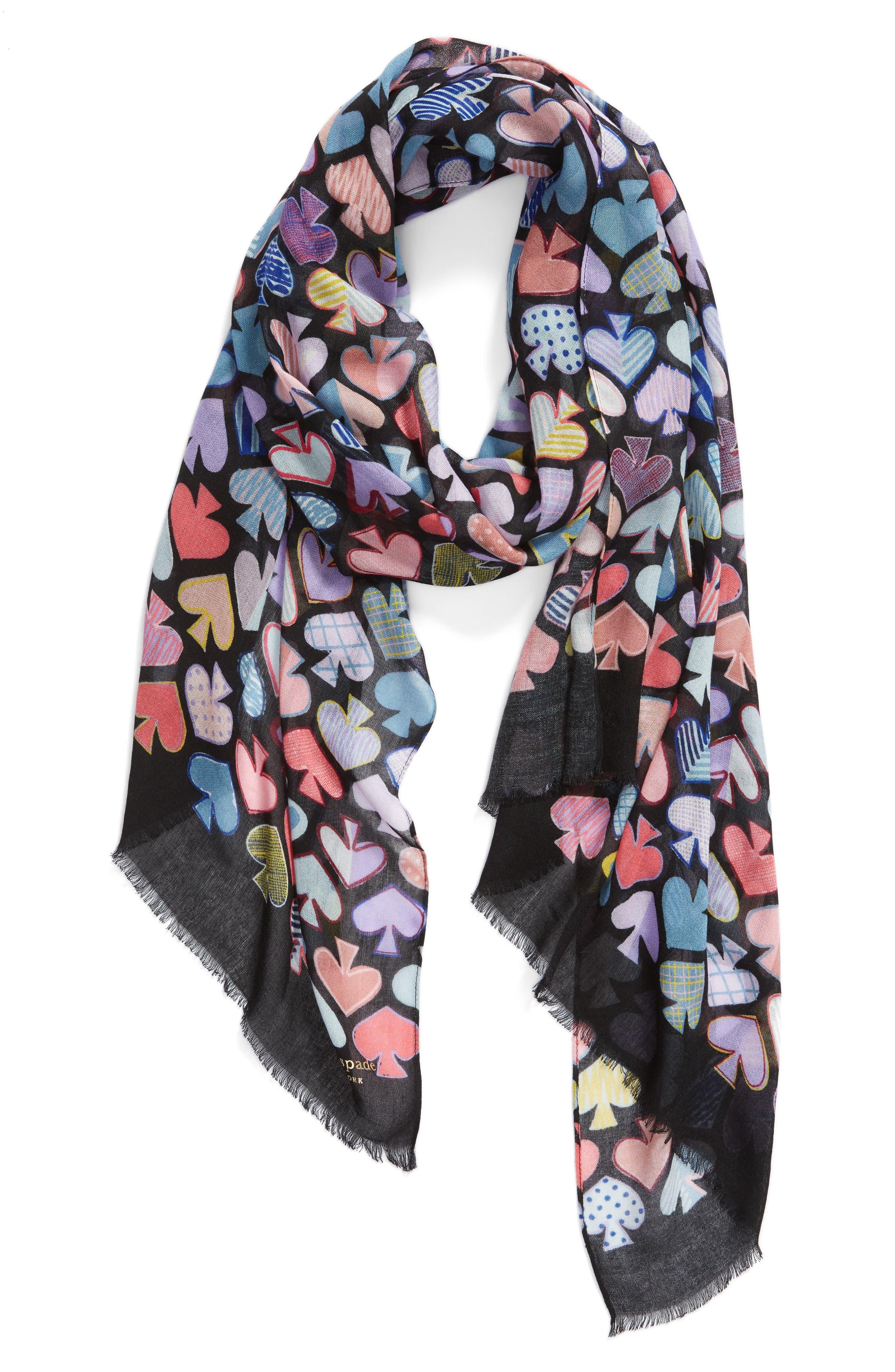 graffiti spades scarf,                             Alternate thumbnail 2, color,                             BLACK