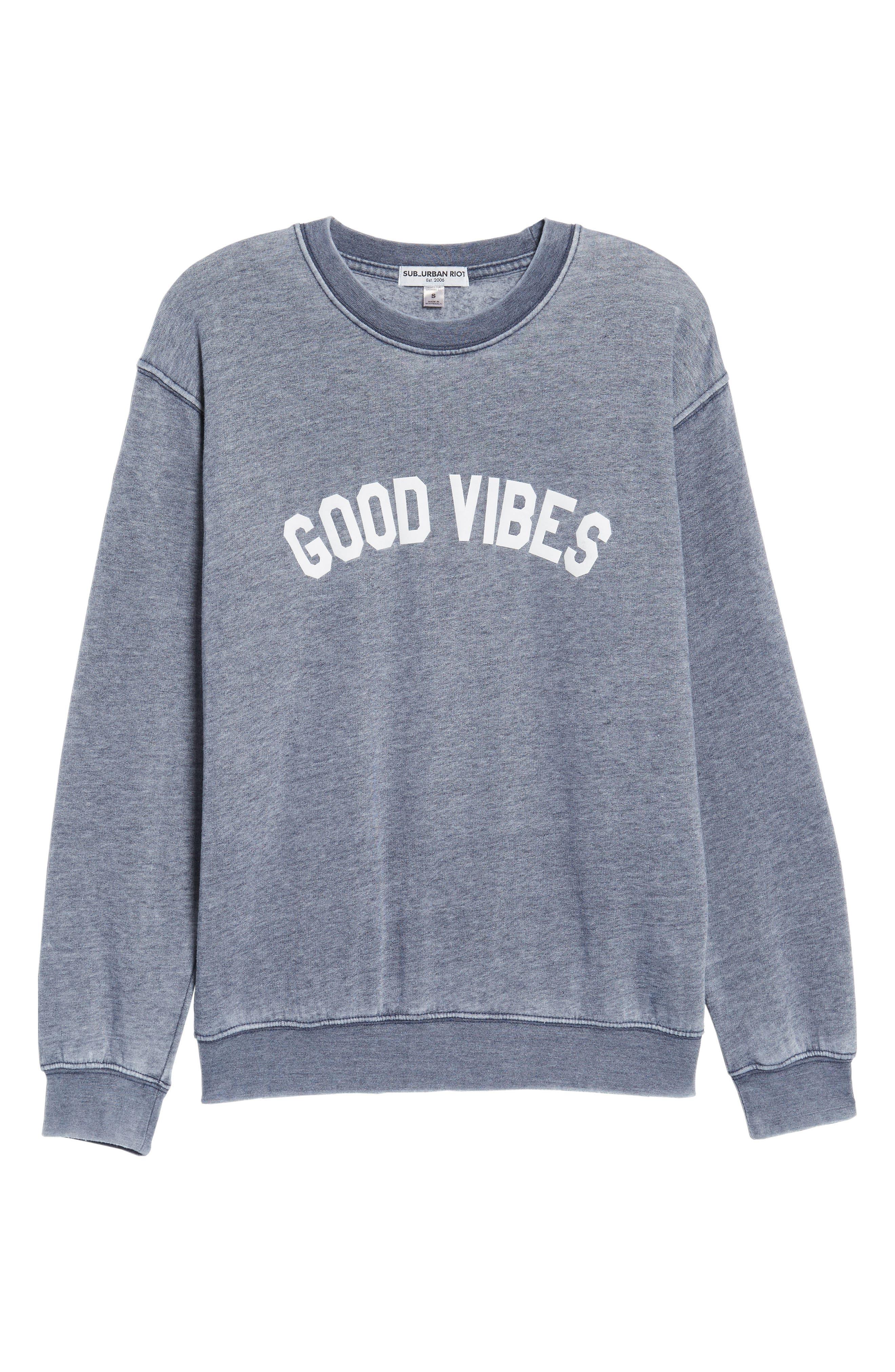Good Vibes Burnout Sweatshirt,                             Alternate thumbnail 6, color,                             400