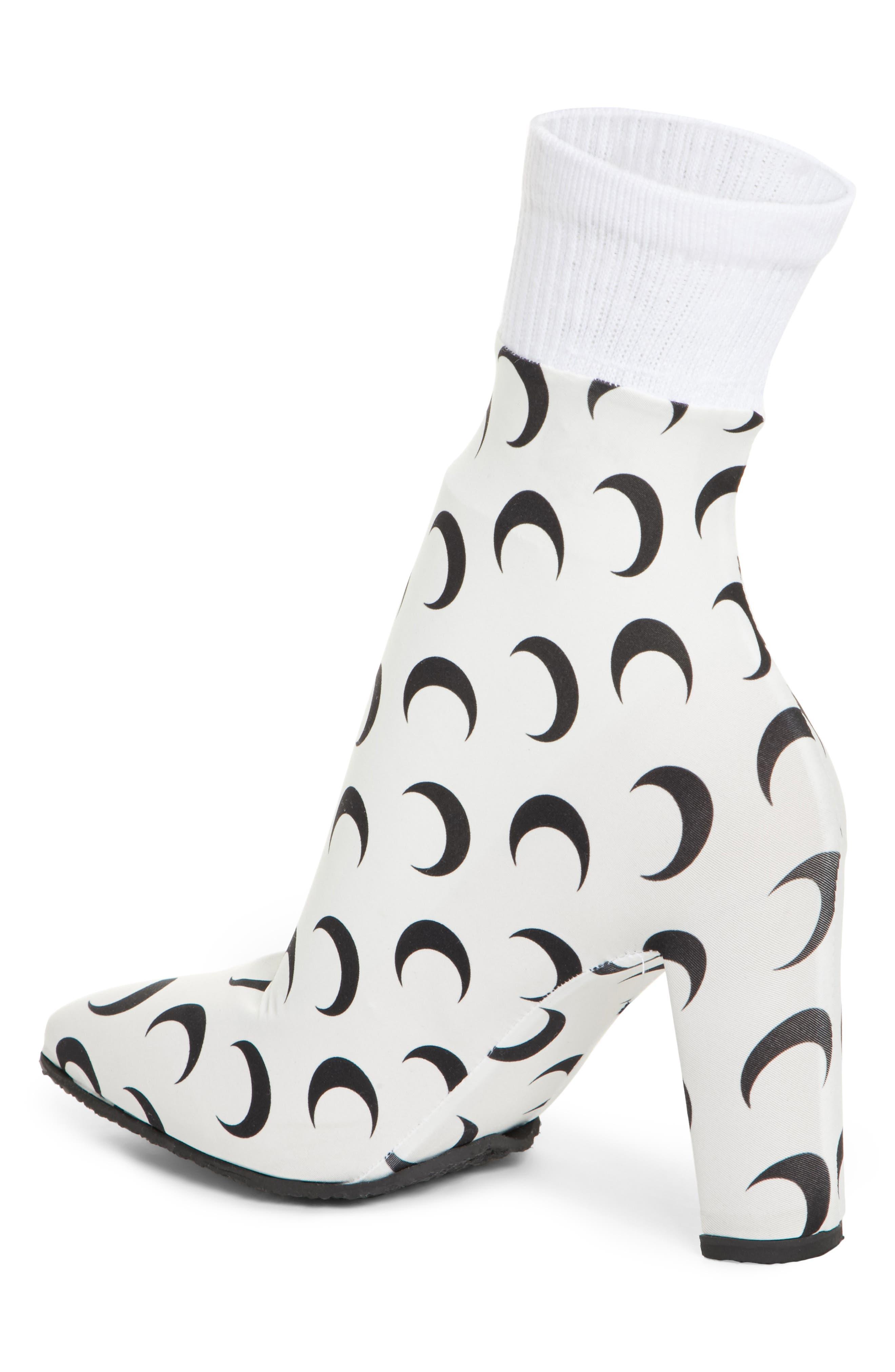 Moon Print Sock Boot,                             Alternate thumbnail 2, color,                             ALL OVER MOON/ WHITE