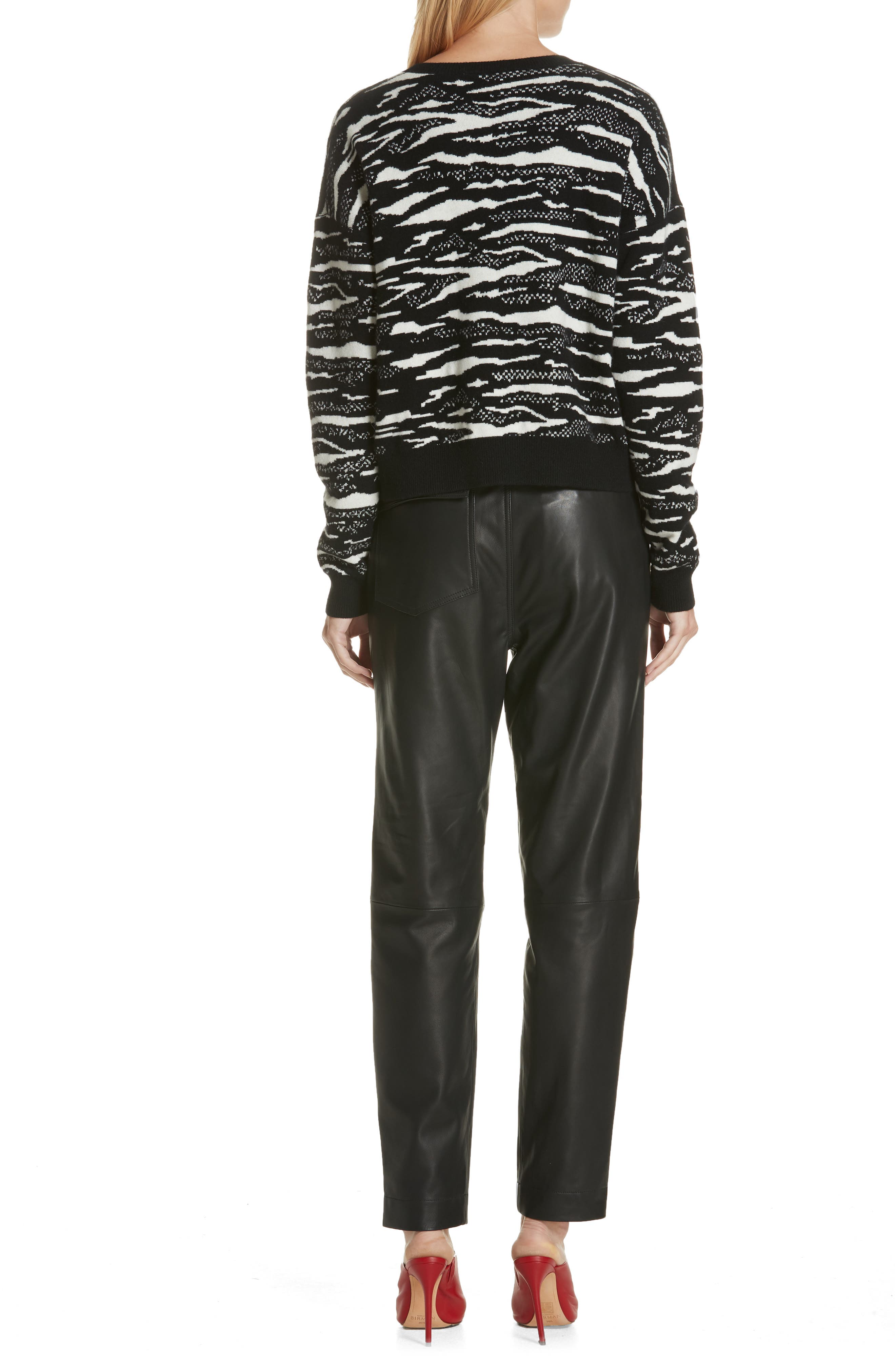 Wool & Cashmere Sweater,                             Alternate thumbnail 2, color,                             BLACK/ WHITE