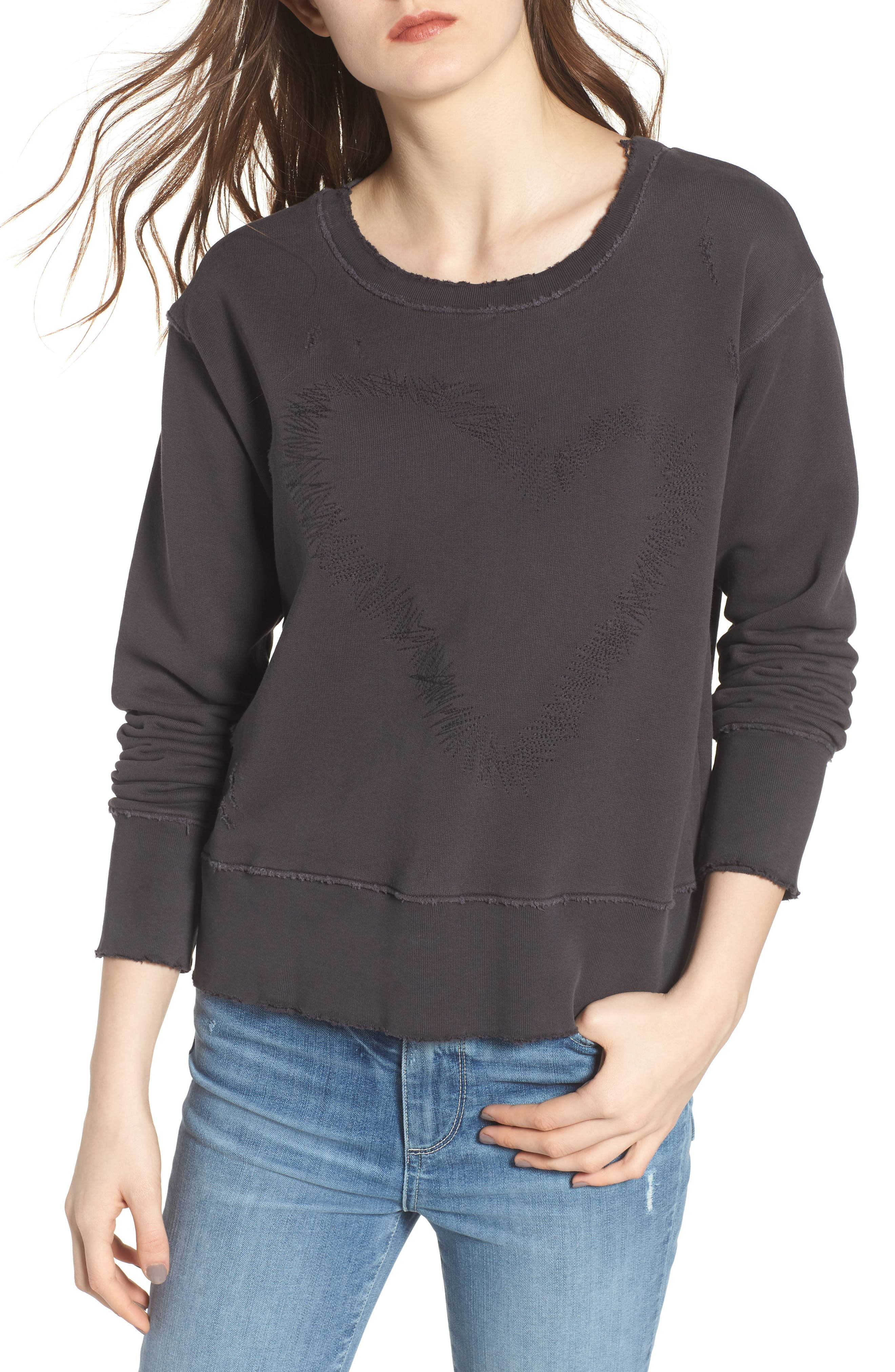 Heart Embroidered Sweatshirt,                         Main,                         color, 020