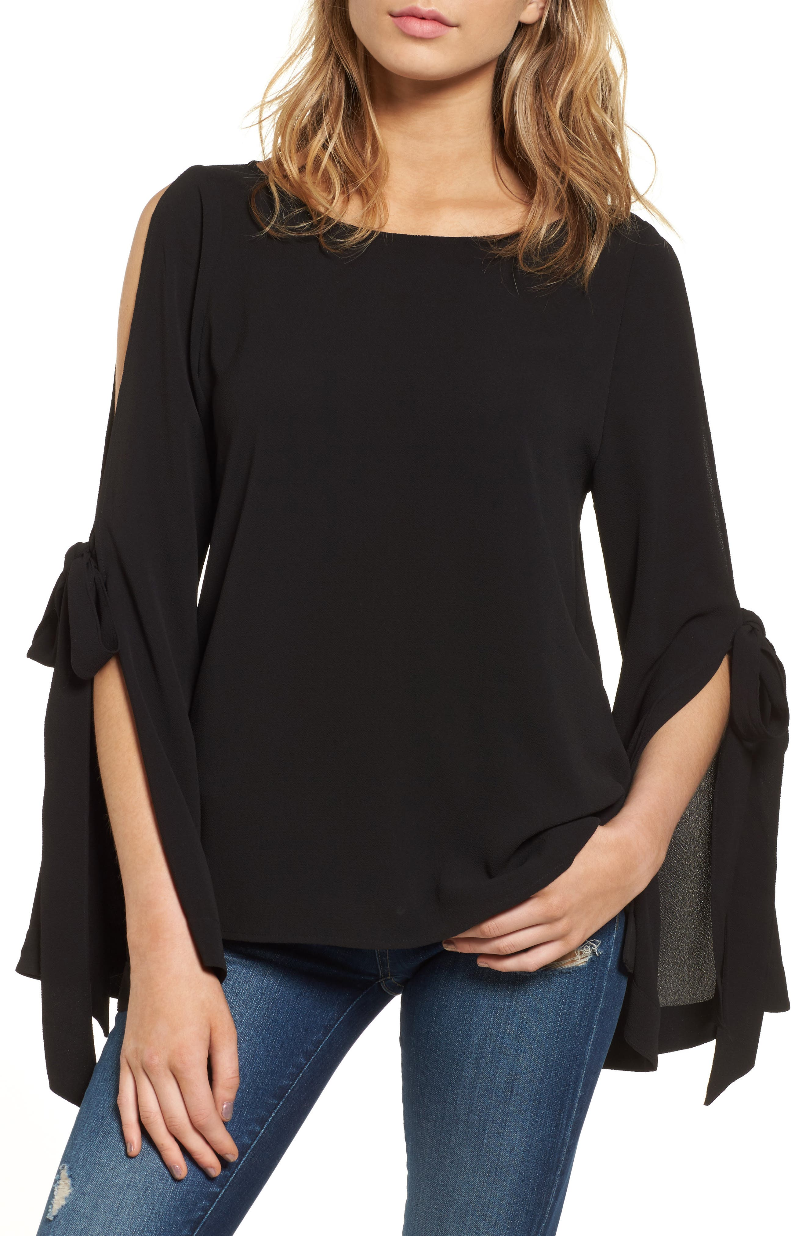 Tie Sleeve Blouse,                             Main thumbnail 1, color,                             001