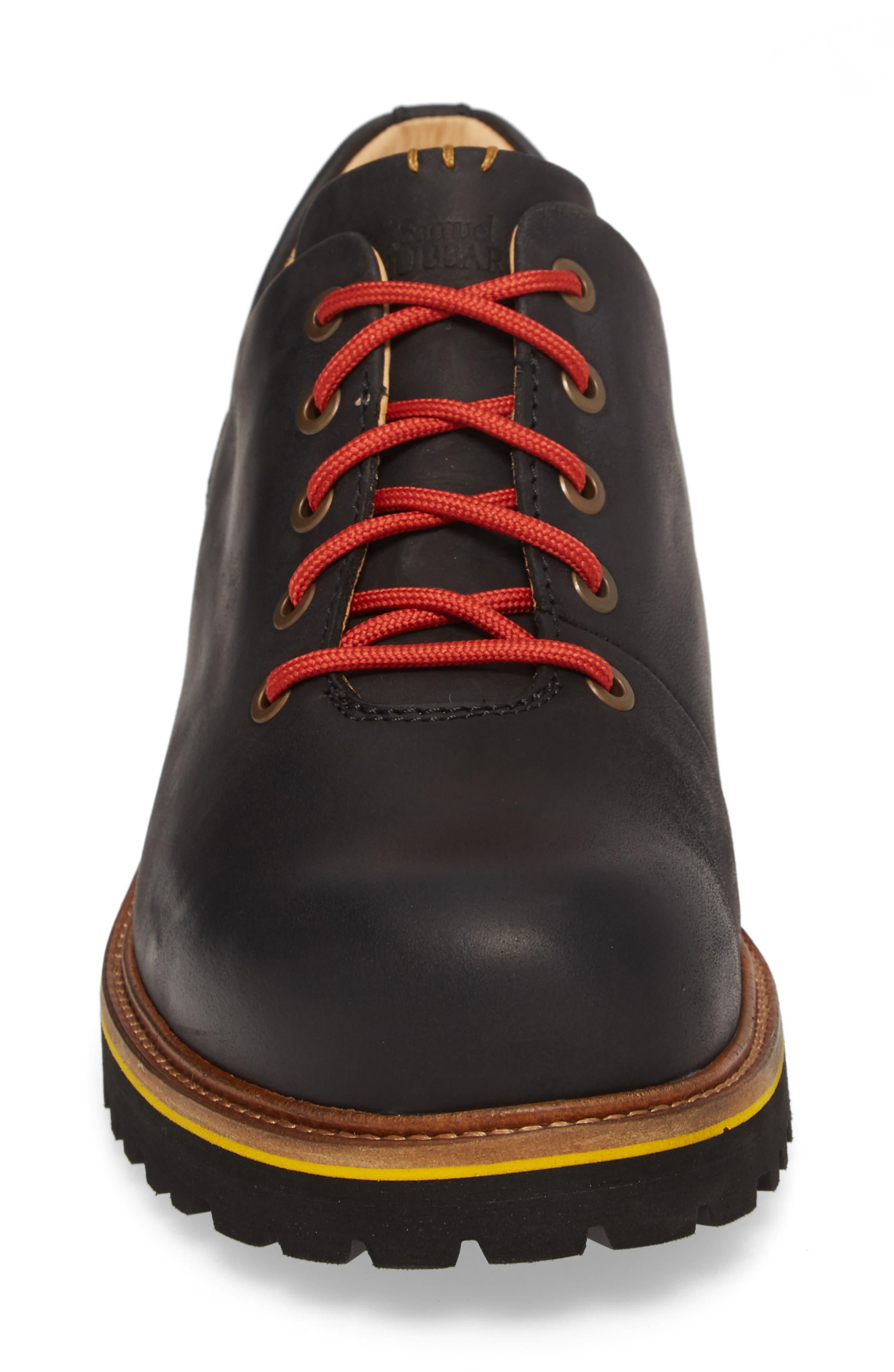 Fresh Plain Toe Oxford,                             Alternate thumbnail 4, color,                             BLACK WAXED LEATHER