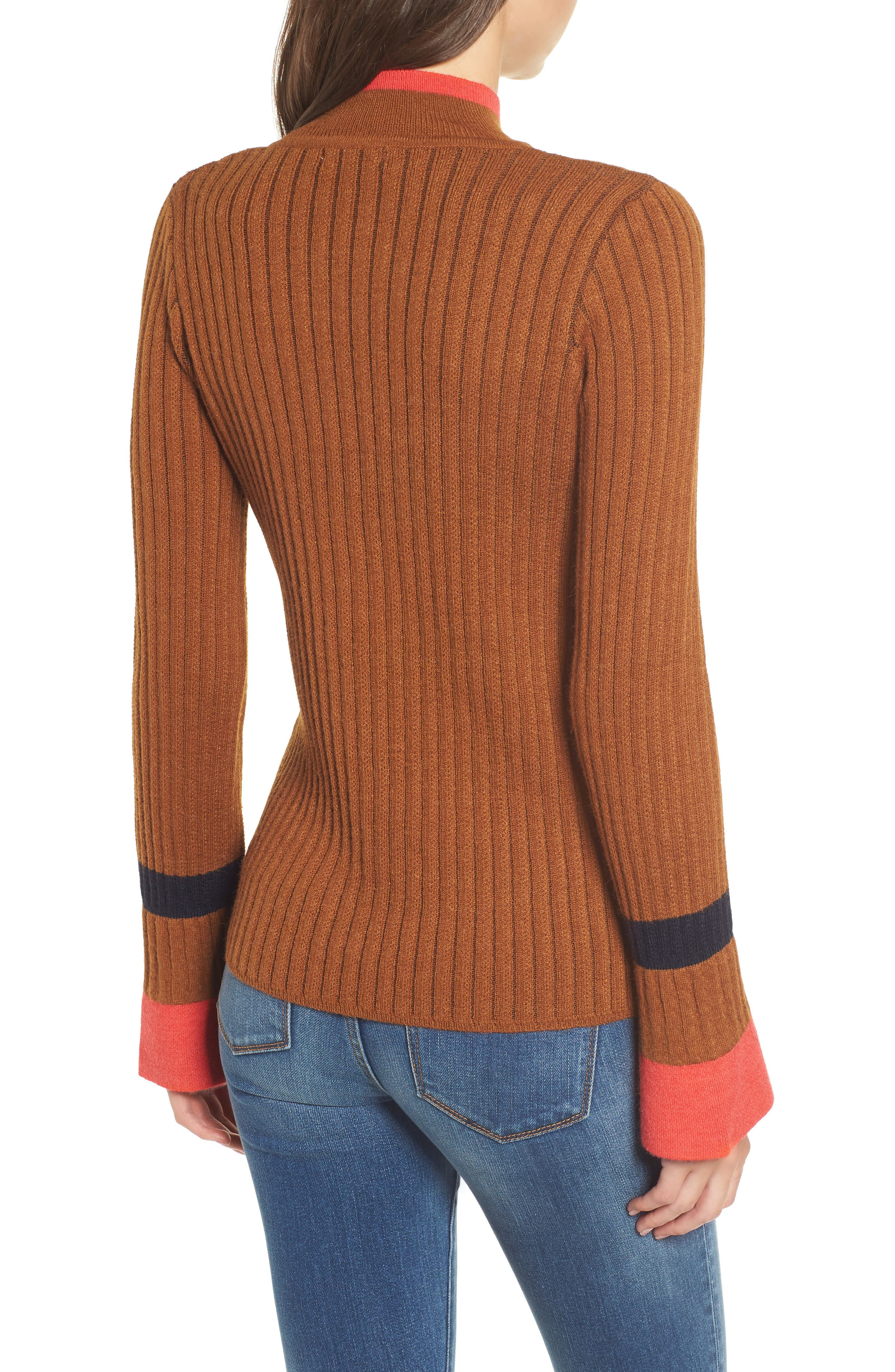 Stripe Bell Sleeve Sweater,                             Alternate thumbnail 2, color,                             CHOCOLATE