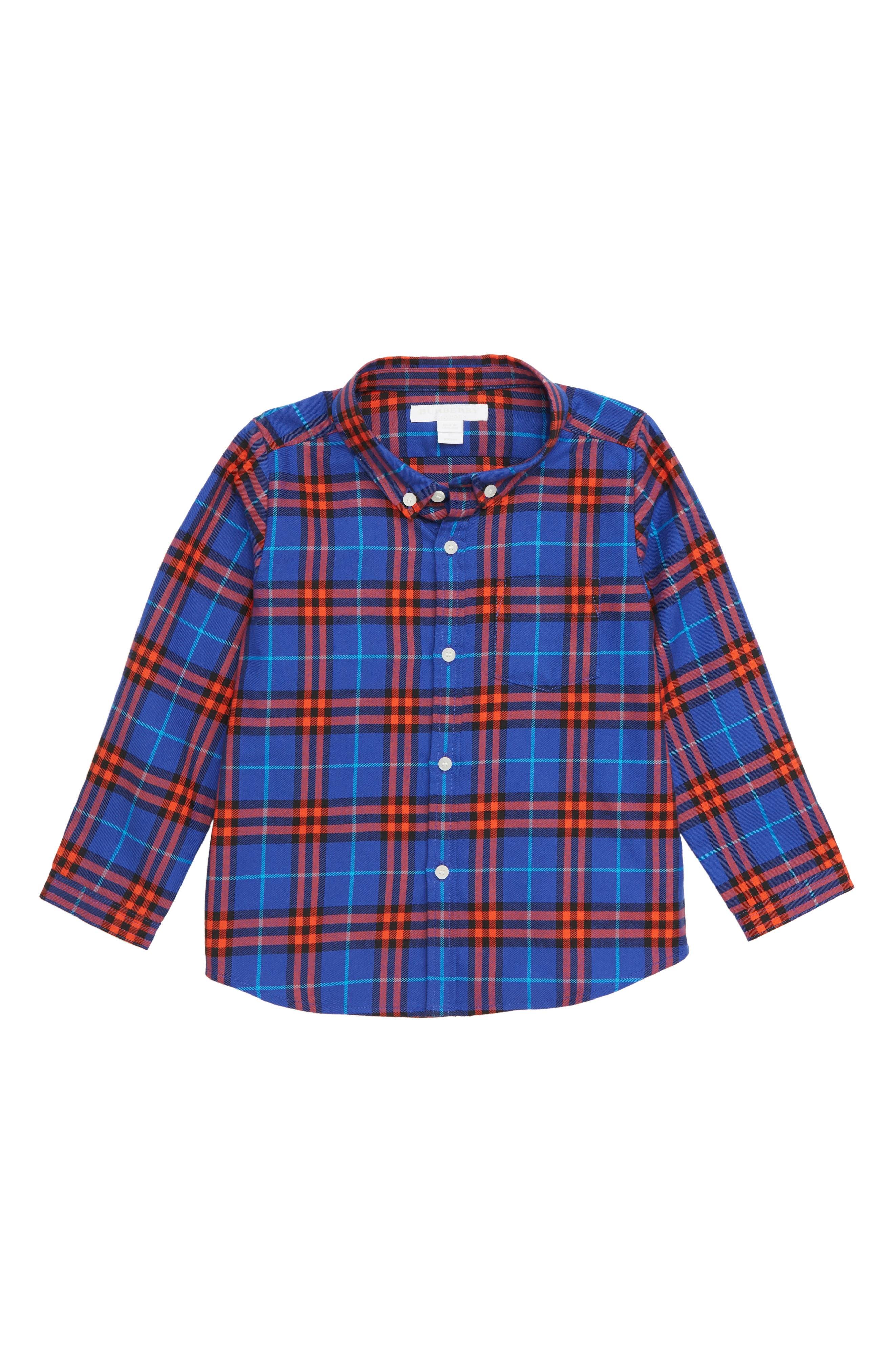Fred Plaid Woven Shirt,                         Main,                         color, SAPPHIRE BLUE IP CHK