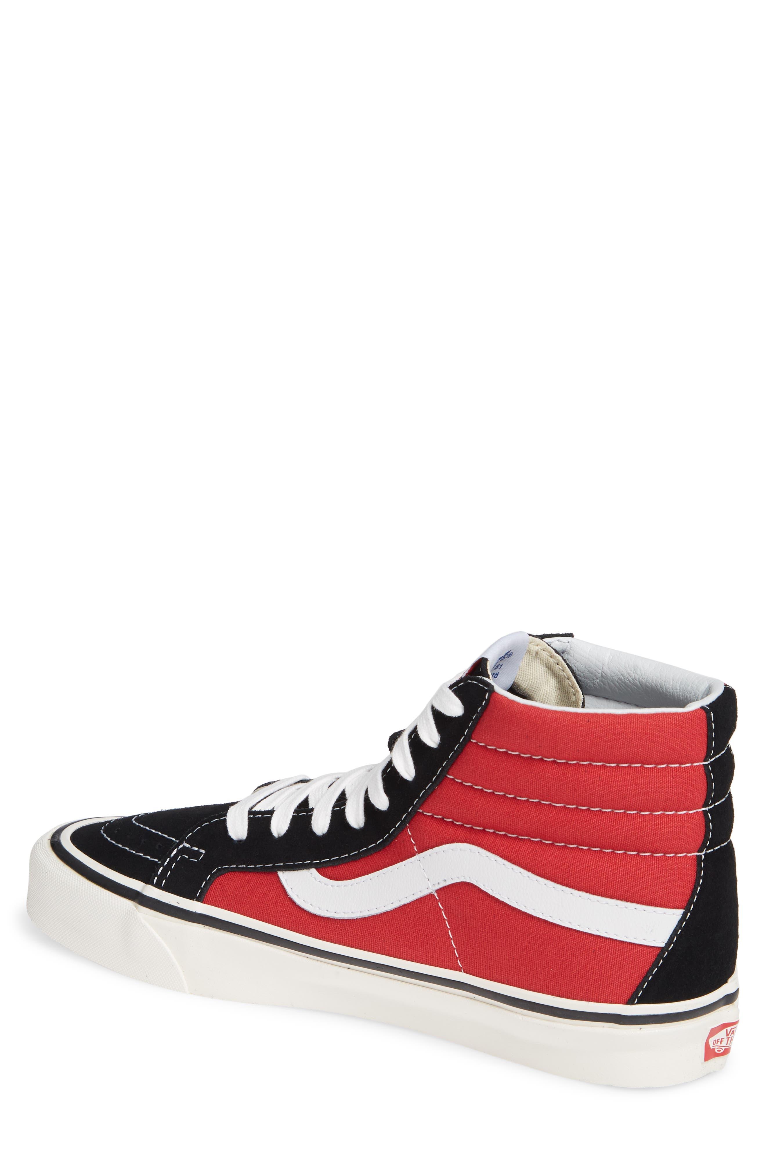 UA Sk8-Hi 38 DX Sneaker,                             Alternate thumbnail 2, color,                             OG BLACK/ OG RED CANVAS