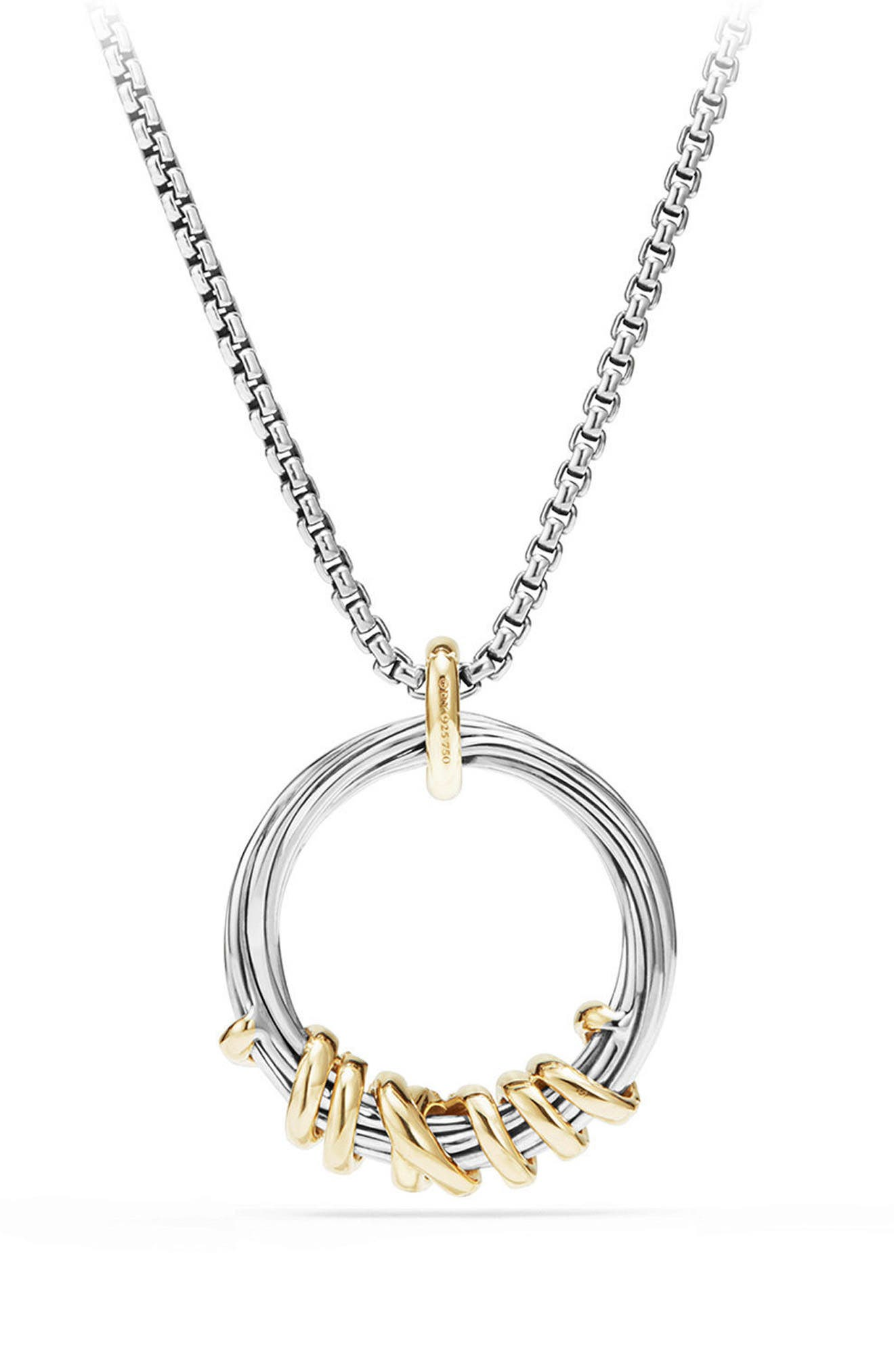 Helena Medium Pendant Necklace with Diamonds & 18K Gold,                             Alternate thumbnail 3, color,                             SILVER/ GOLD