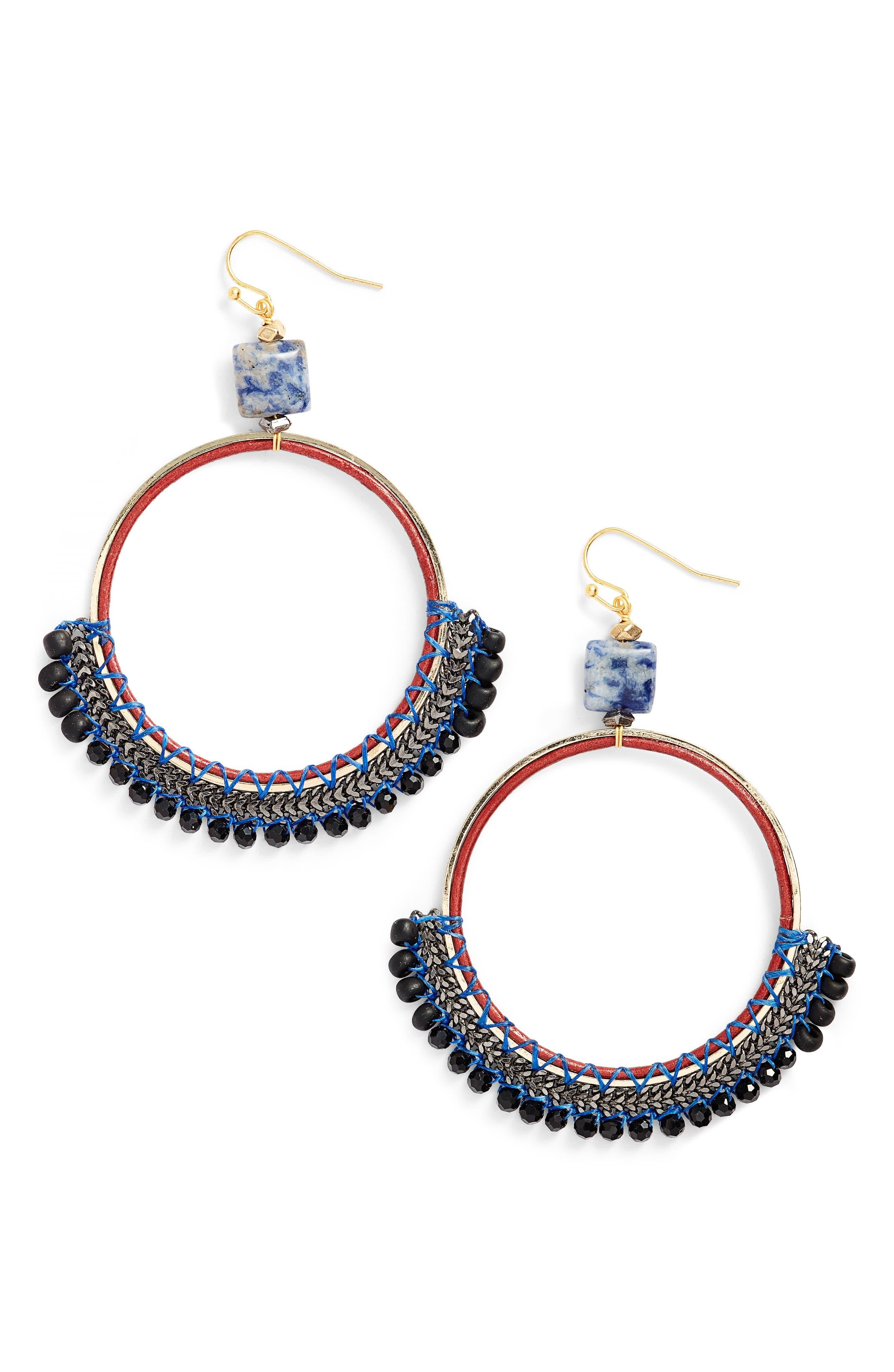 Bachubai Crystal & Chain Hoop Earrings,                             Main thumbnail 1, color,                             400
