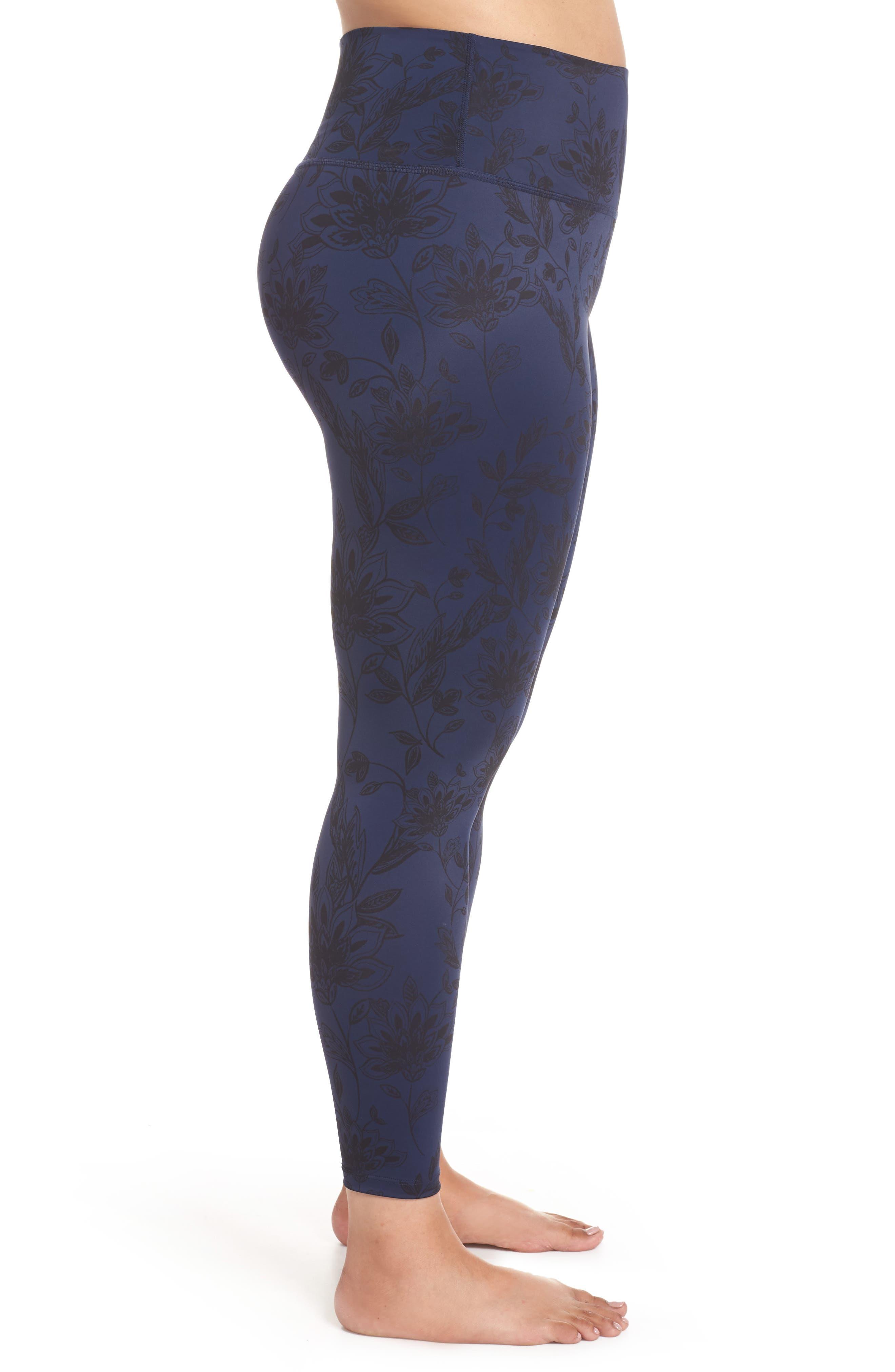 Compression High Waist BOPO Midi Leggings,                             Alternate thumbnail 3, color,                             DESERT FLORAL