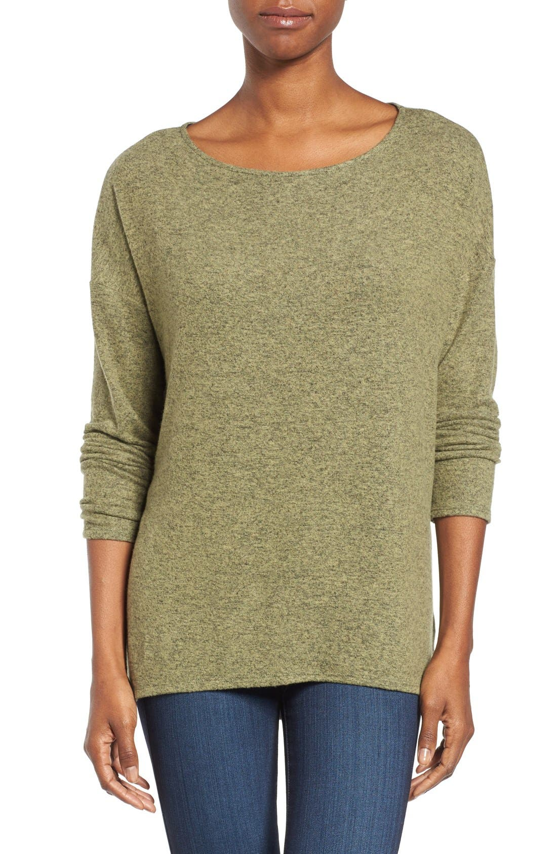 Cozy Ballet Neck High/Low Pullover,                             Main thumbnail 8, color,