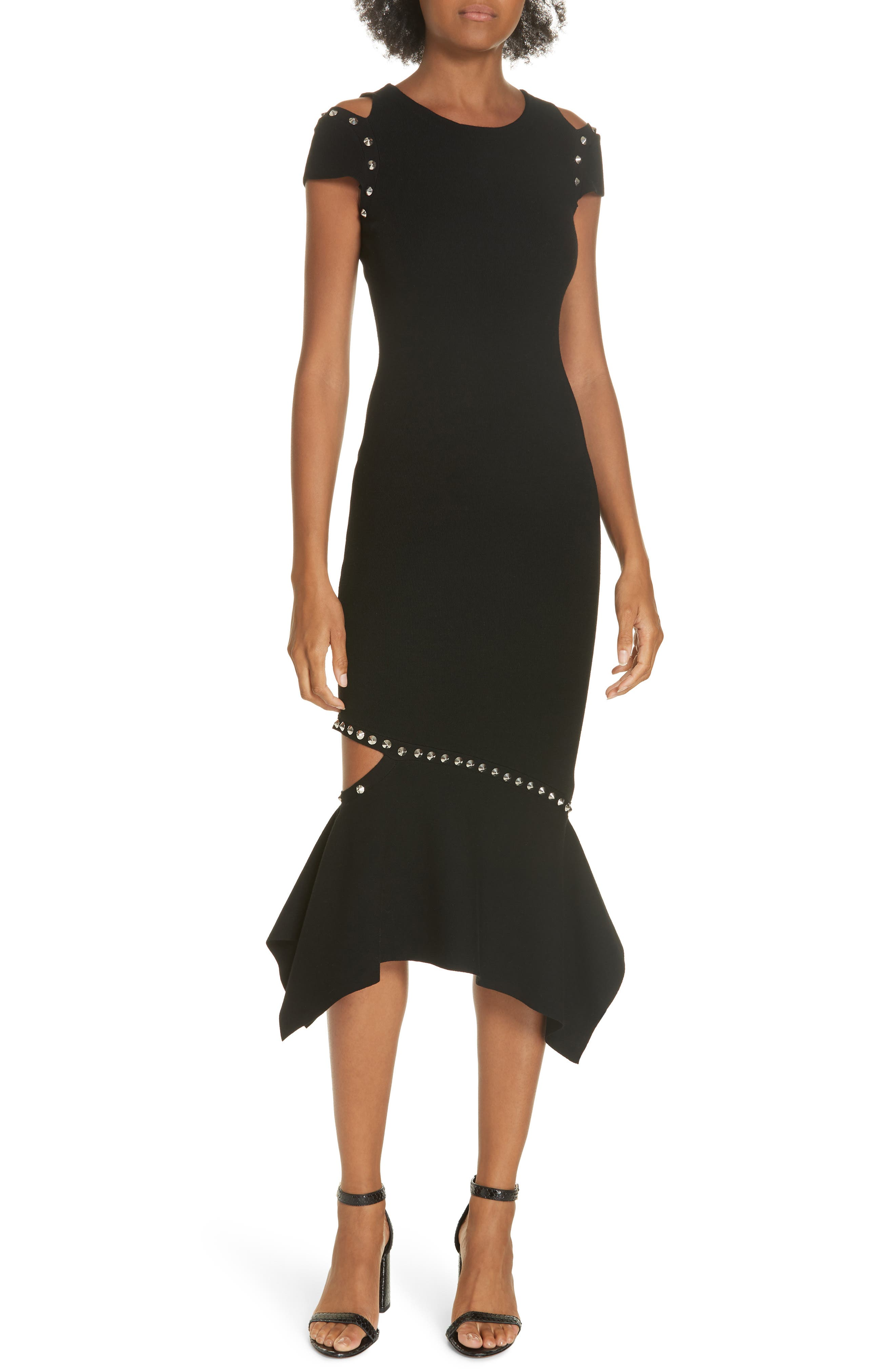 Ameera Studded Midi Dress,                             Main thumbnail 1, color,                             BLACK