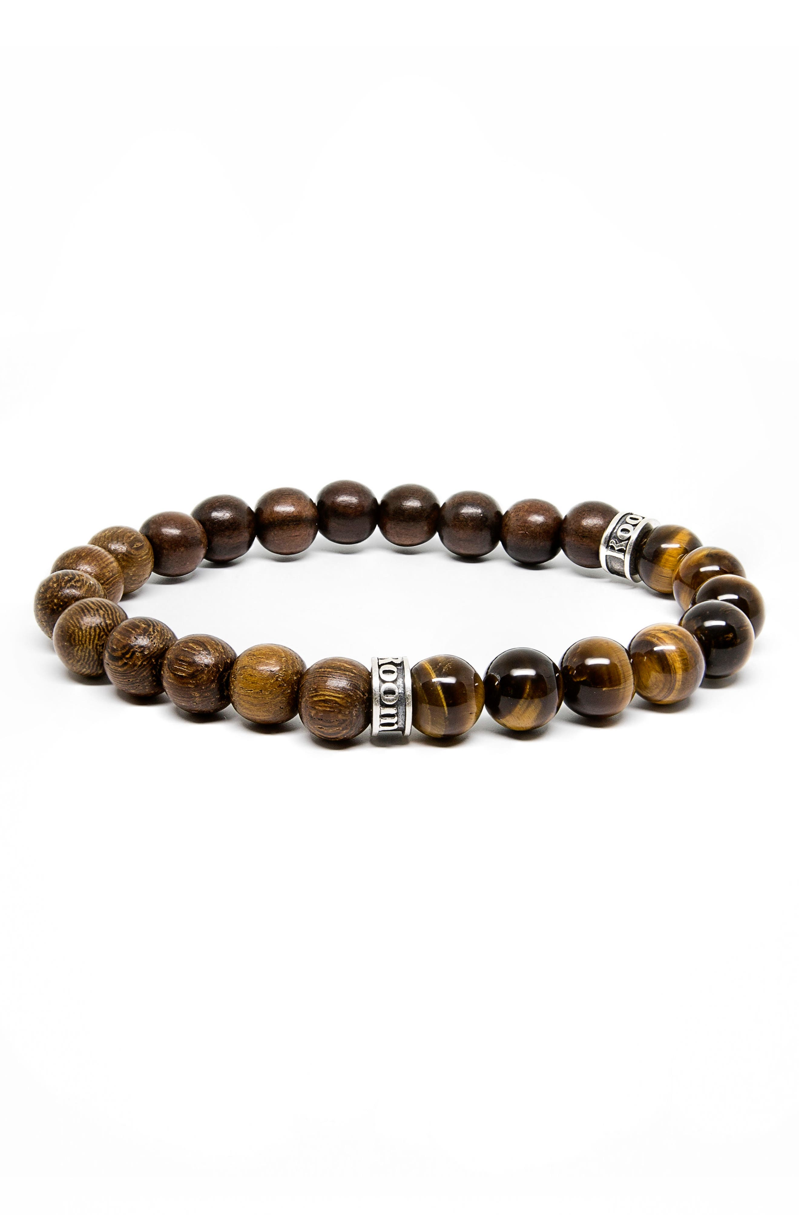 Wood and Tiger Eye Stretch Bracelet,                             Main thumbnail 1, color,                             210