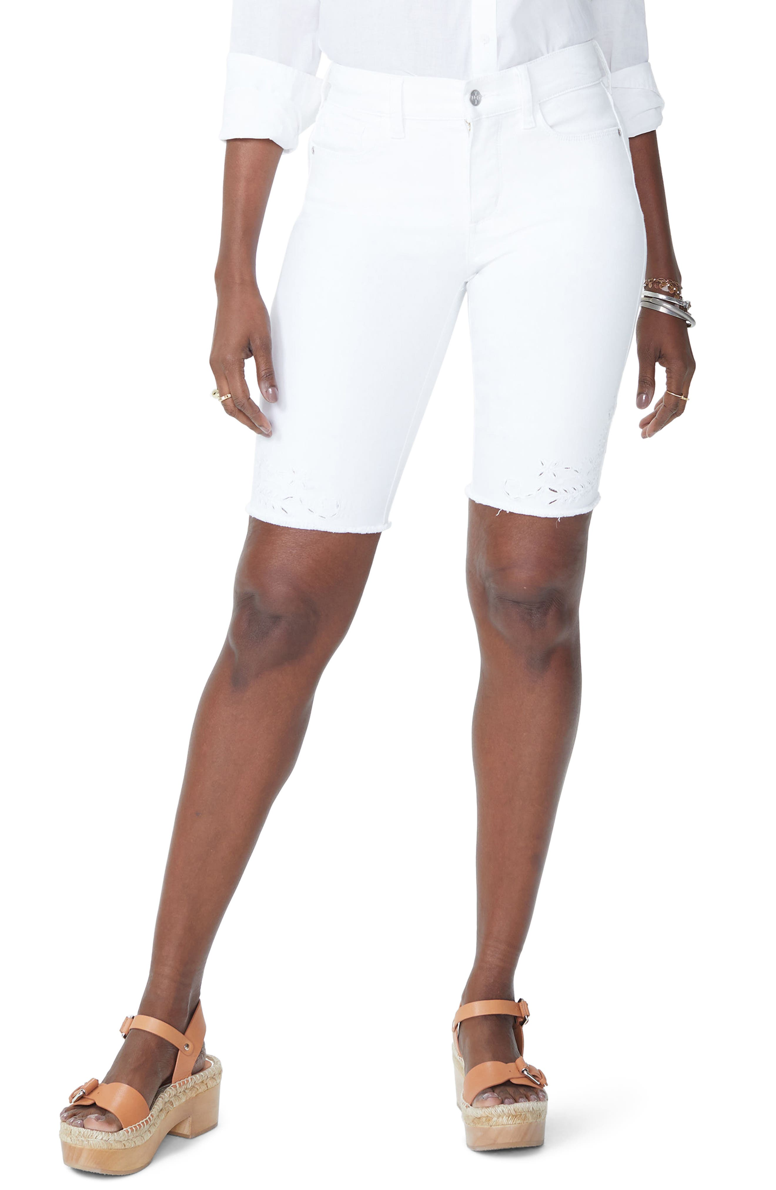 Briella Eyelet Trim Stretch Denim Shorts,                             Main thumbnail 1, color,                             103