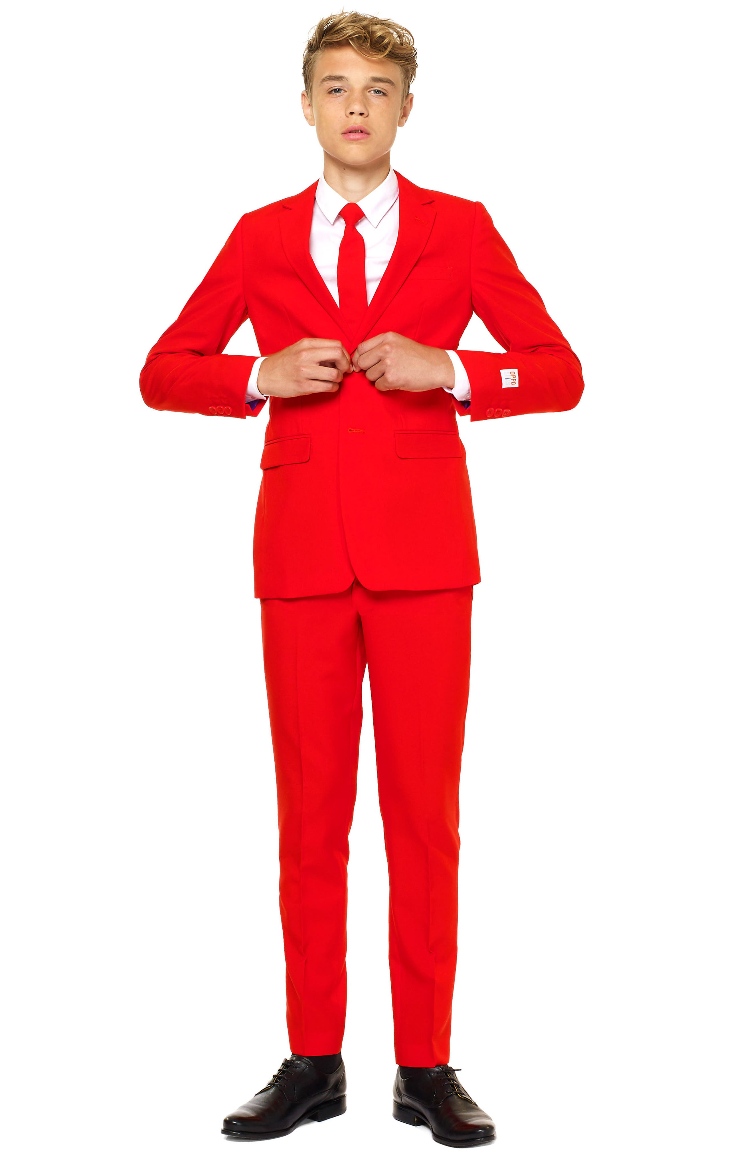 Red Devil Two-Piece Suit with Tie,                             Main thumbnail 1, color,                             RED