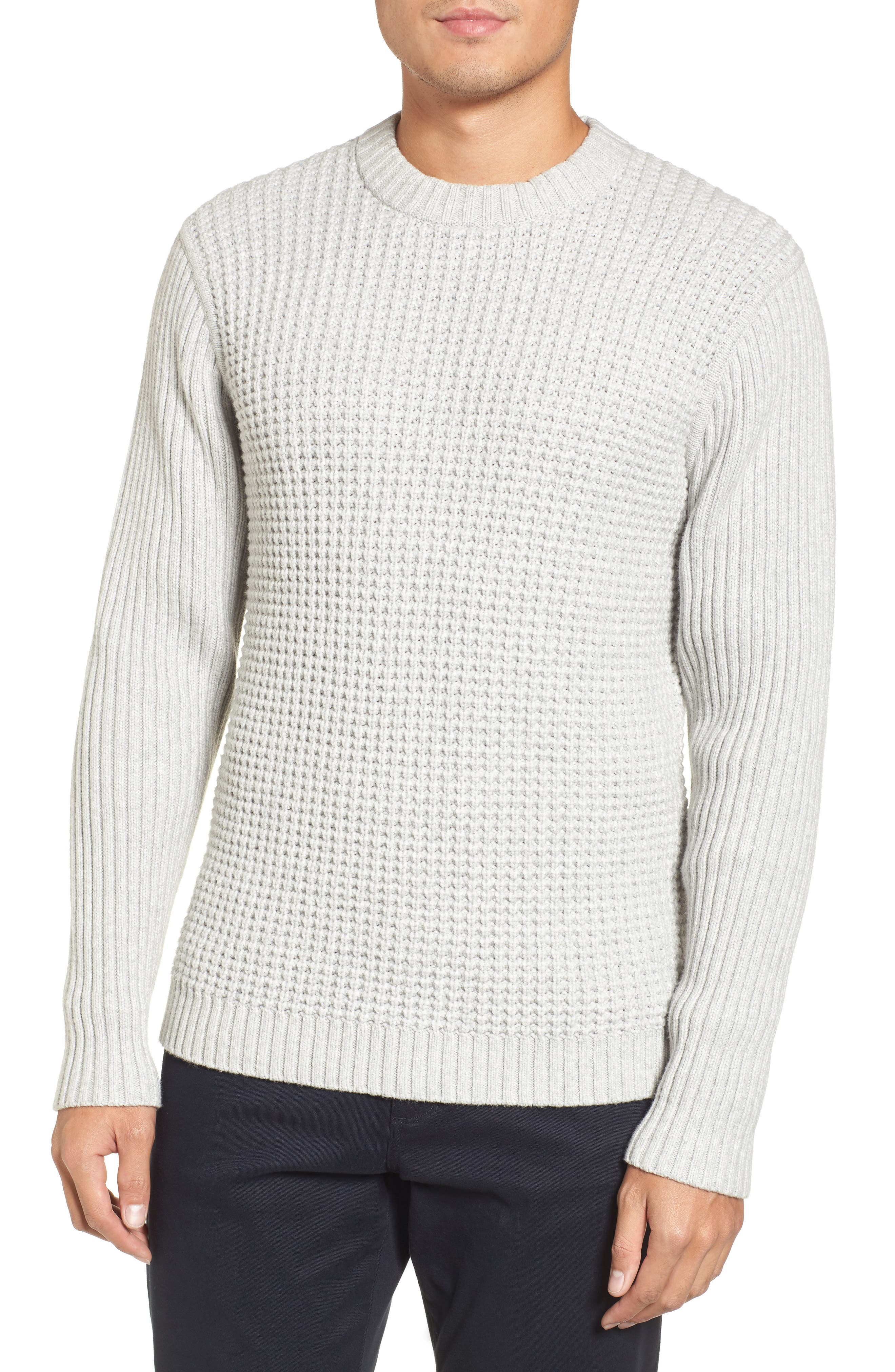 Heavyweight Mixed Knit Crewneck Sweater,                             Main thumbnail 1, color,                             050