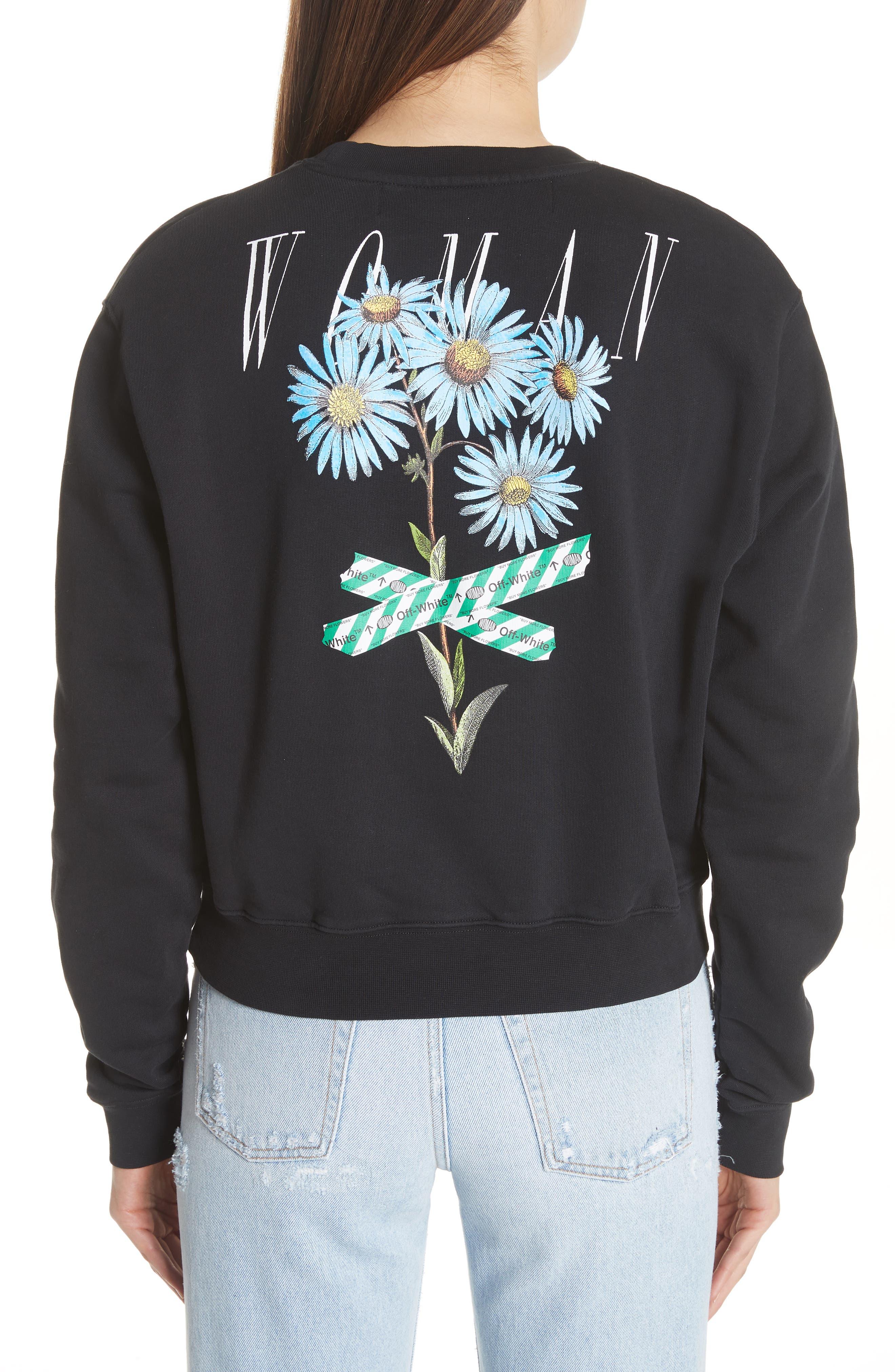 Flower Tape Crop Sweatshirt,                             Alternate thumbnail 2, color,                             001