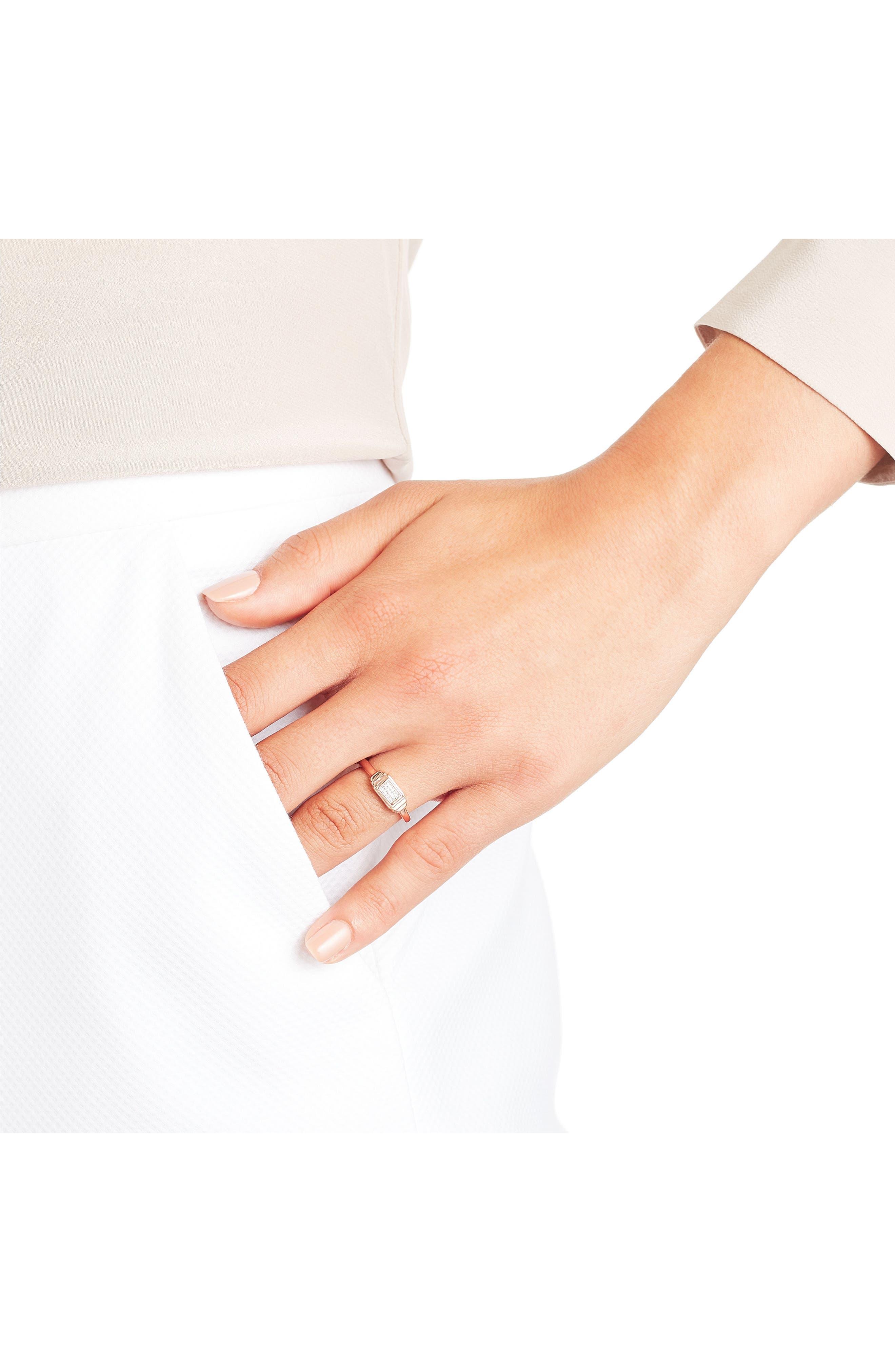 Baja Deco Diamond Ring,                             Alternate thumbnail 2, color,                             ROSE GOLD/ DIAMOND