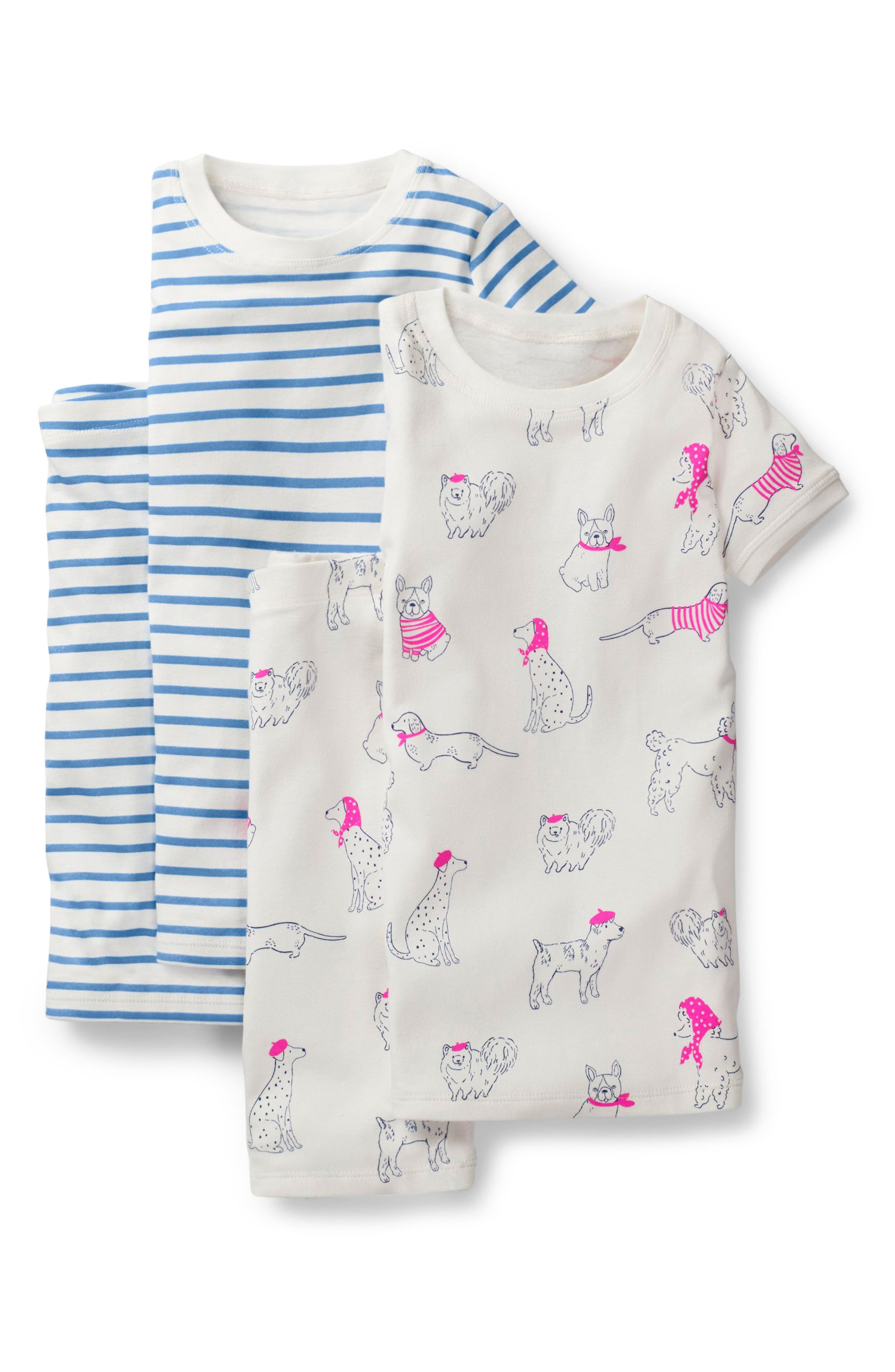 MINI BODEN 2-Pack Fitted Two-Piece Pajamas, Main, color, IVORY DOODLE DOGS/ LAKE BLUE