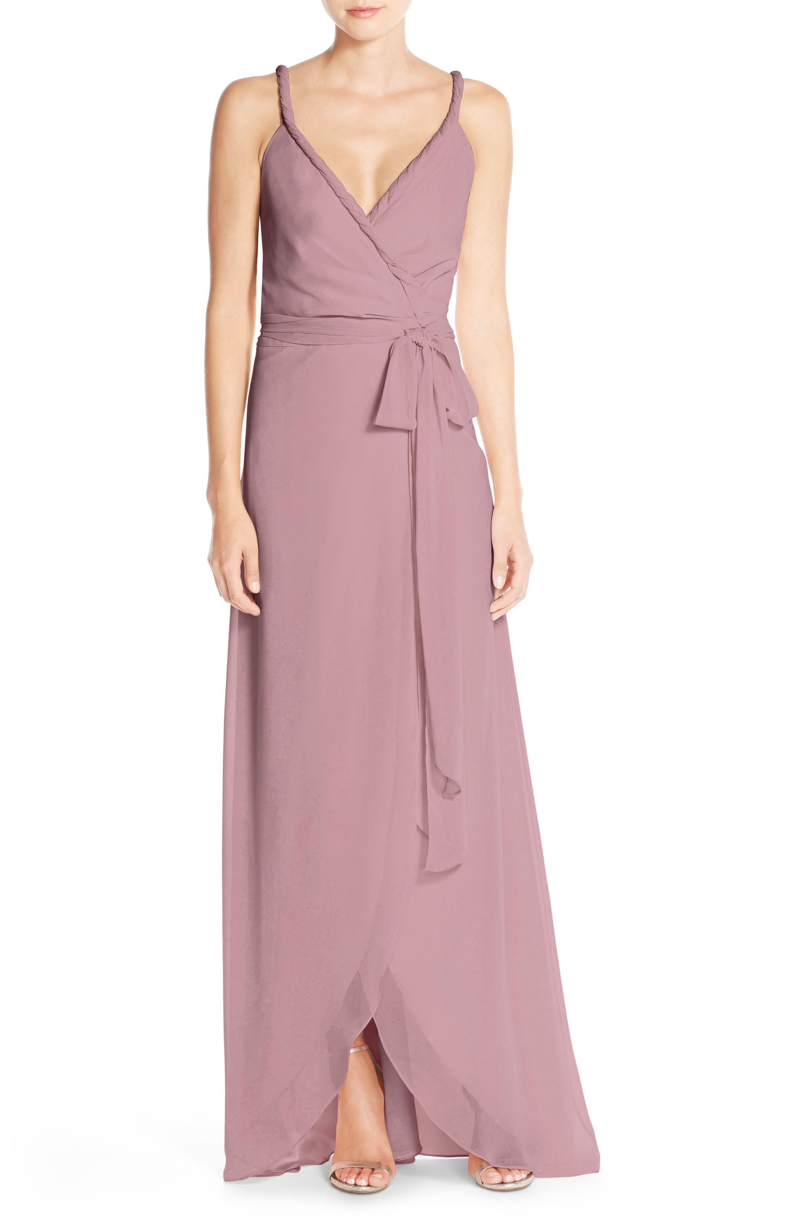 JOANNA AUGUST,                             Parker Twist Strap ChiffonWrap Gown,                             Alternate thumbnail 3, color,                             652