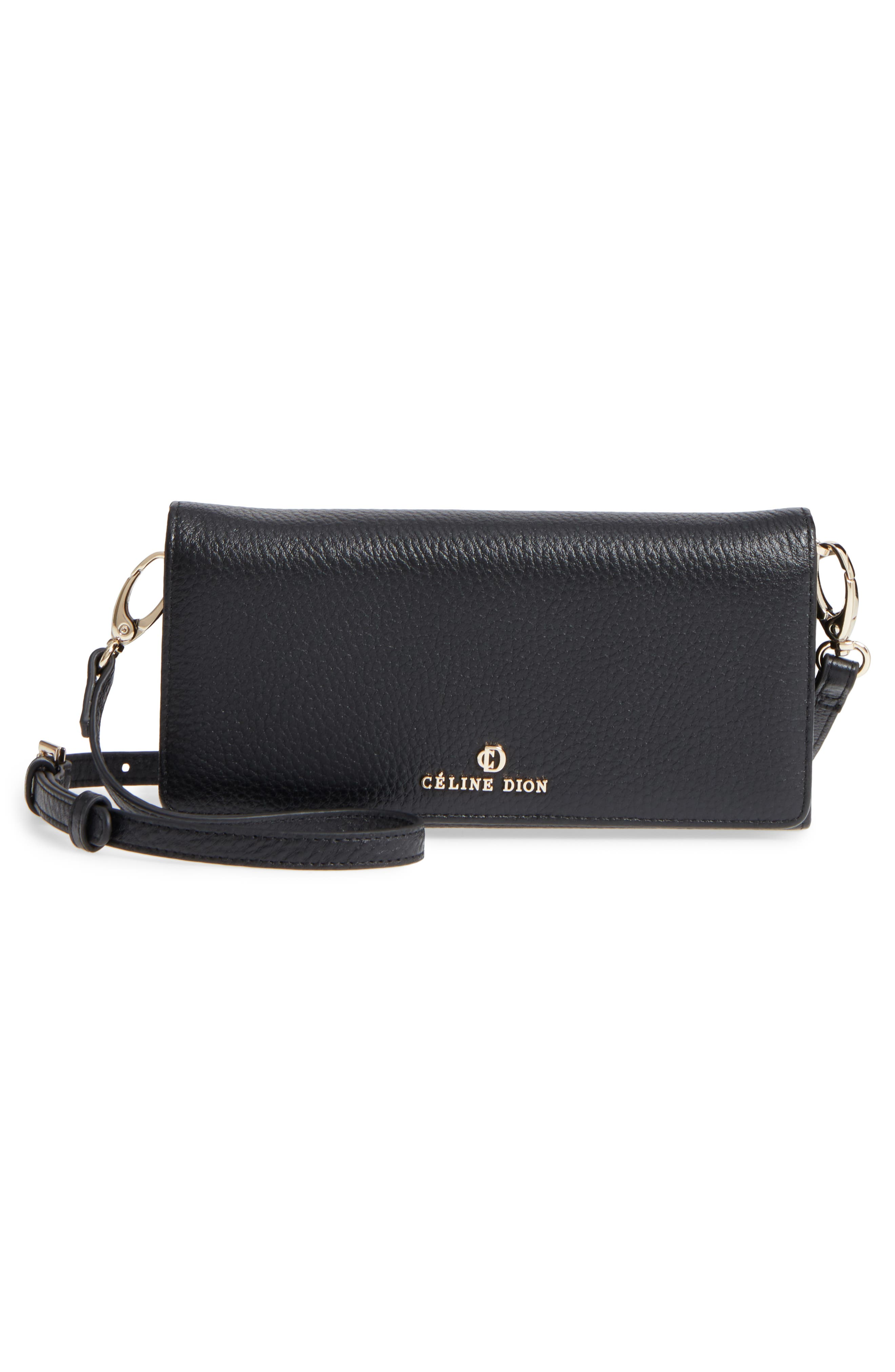 Céline Dion Adagio Leather Crossbody Wallet,                             Alternate thumbnail 3, color,                             001