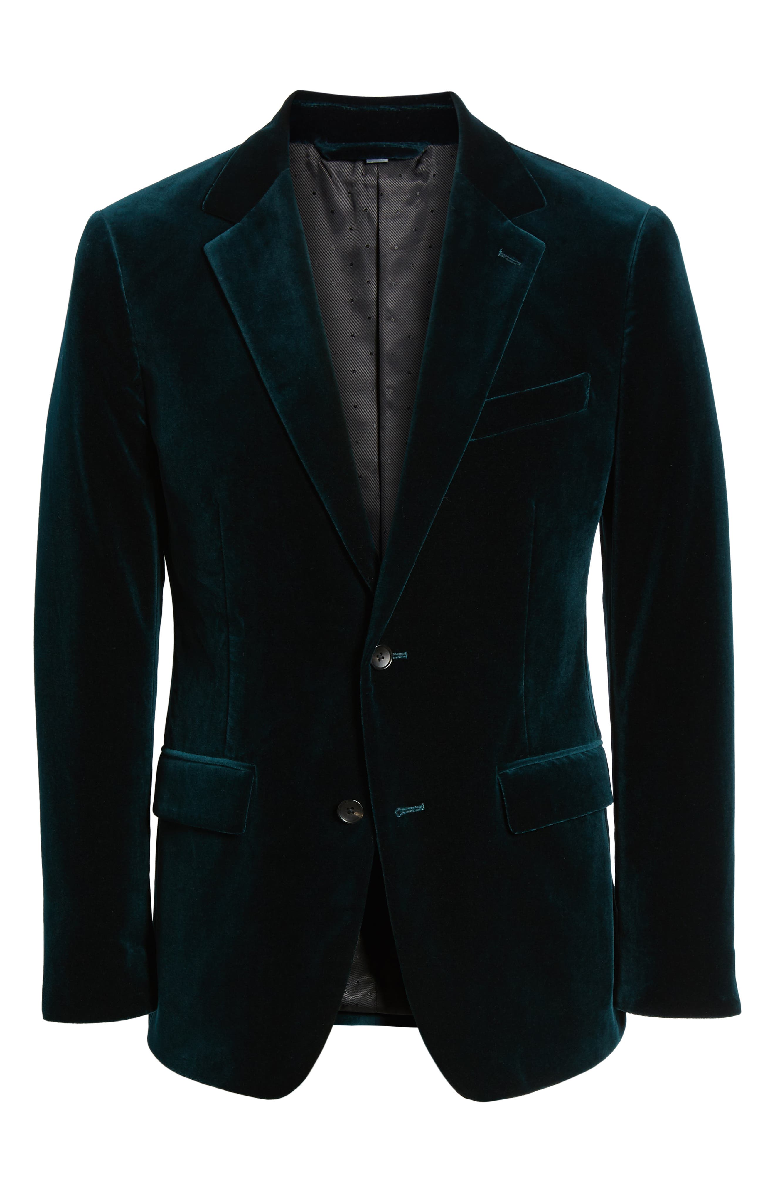 Jetsetter Slim Fit Stretch Velveteen Blazer,                             Alternate thumbnail 5, color,                             SOFT TEAL