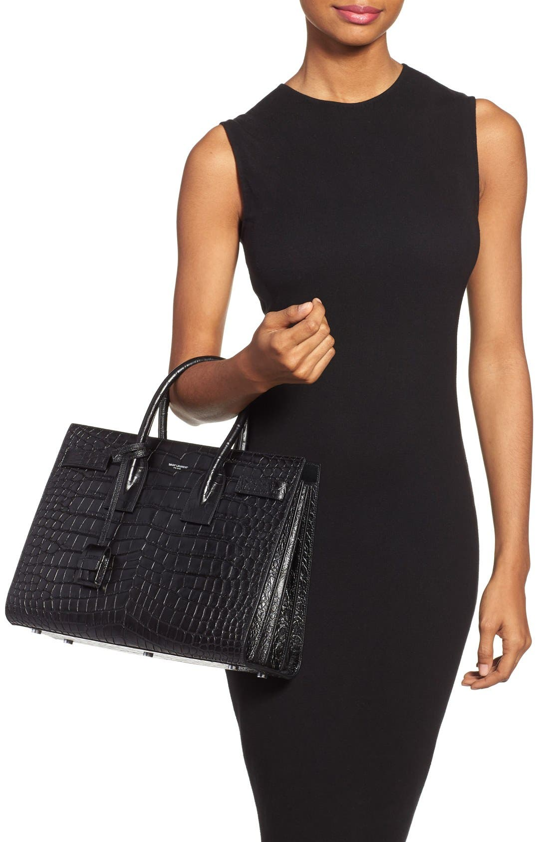 'Small Sac de Jour' Croc Embossed Leather Tote,                             Alternate thumbnail 3, color,                             NOIR