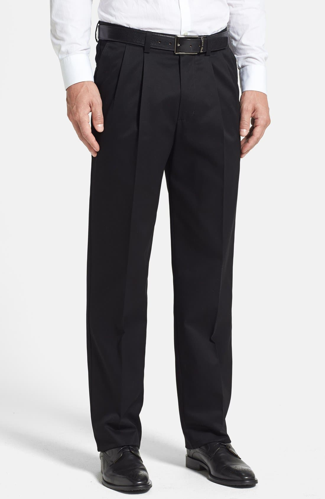'Classic' Smartcare<sup>™</sup> Relaxed Fit Double Pleated Cotton Pants,                             Main thumbnail 1, color,                             BLACK