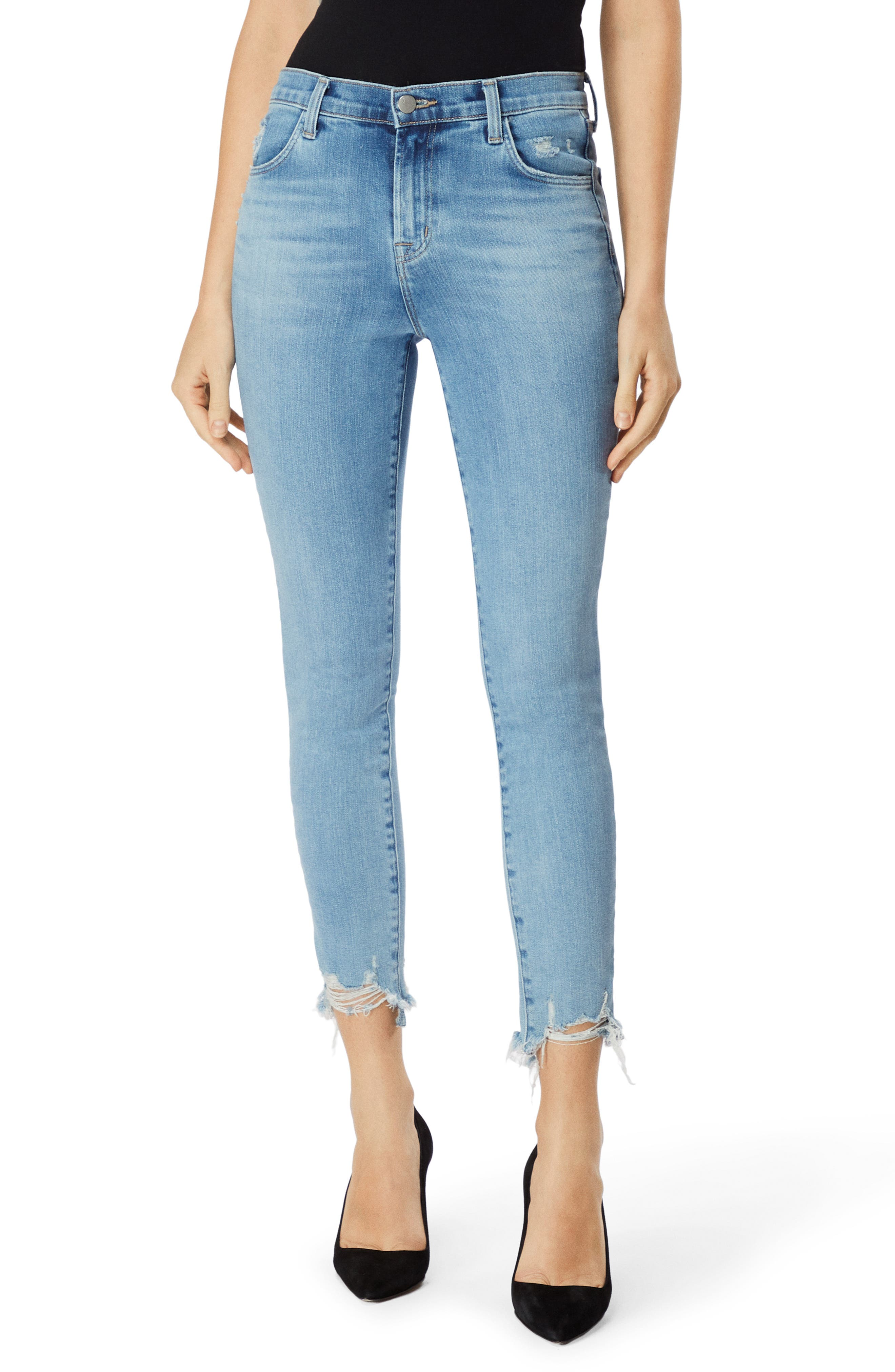 Alana High-Rise Crop Skinny Jeans With Destroyed Hem in Teardrop