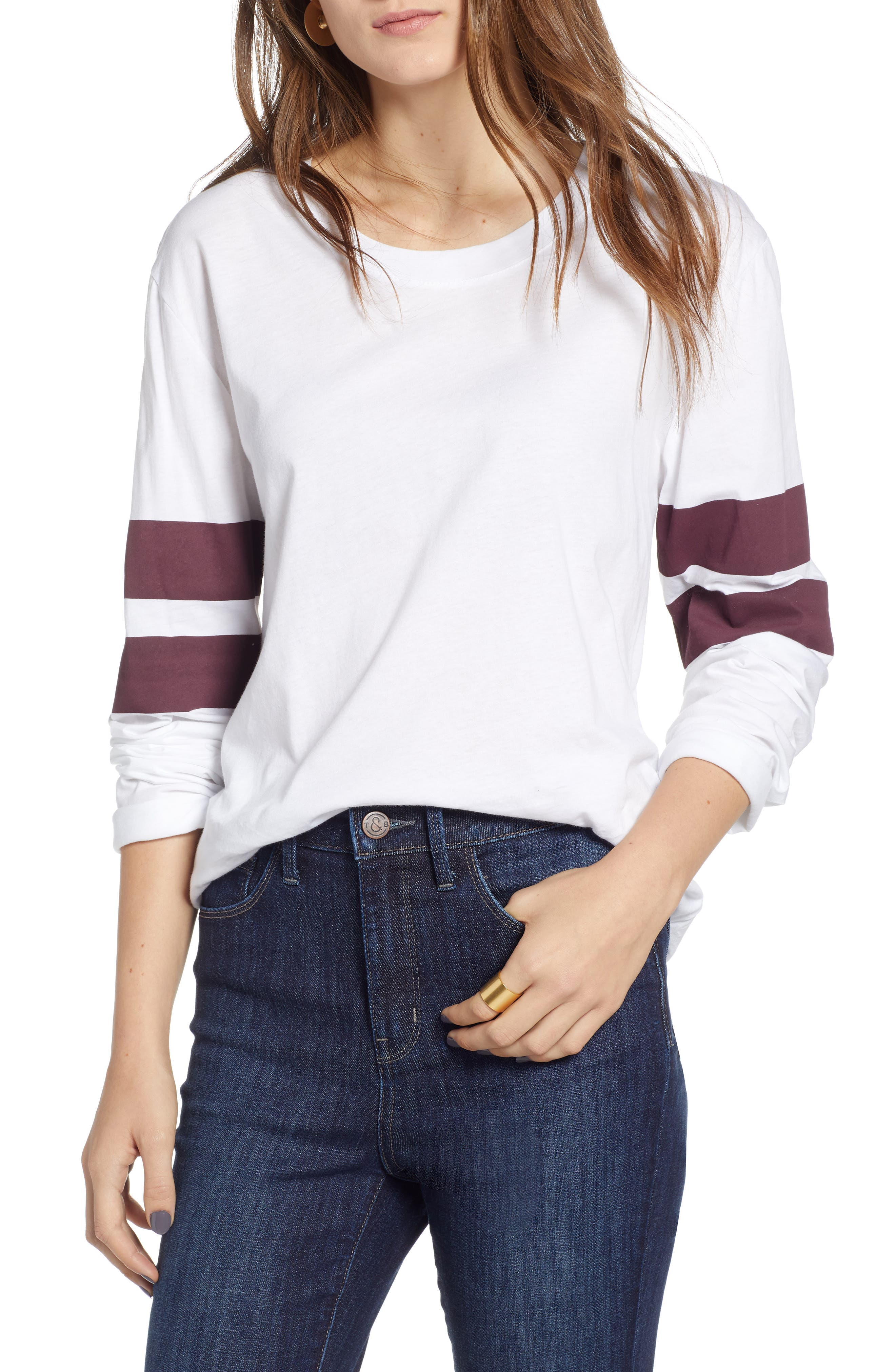 Varsity Stripe Cotton Tee,                             Main thumbnail 8, color,