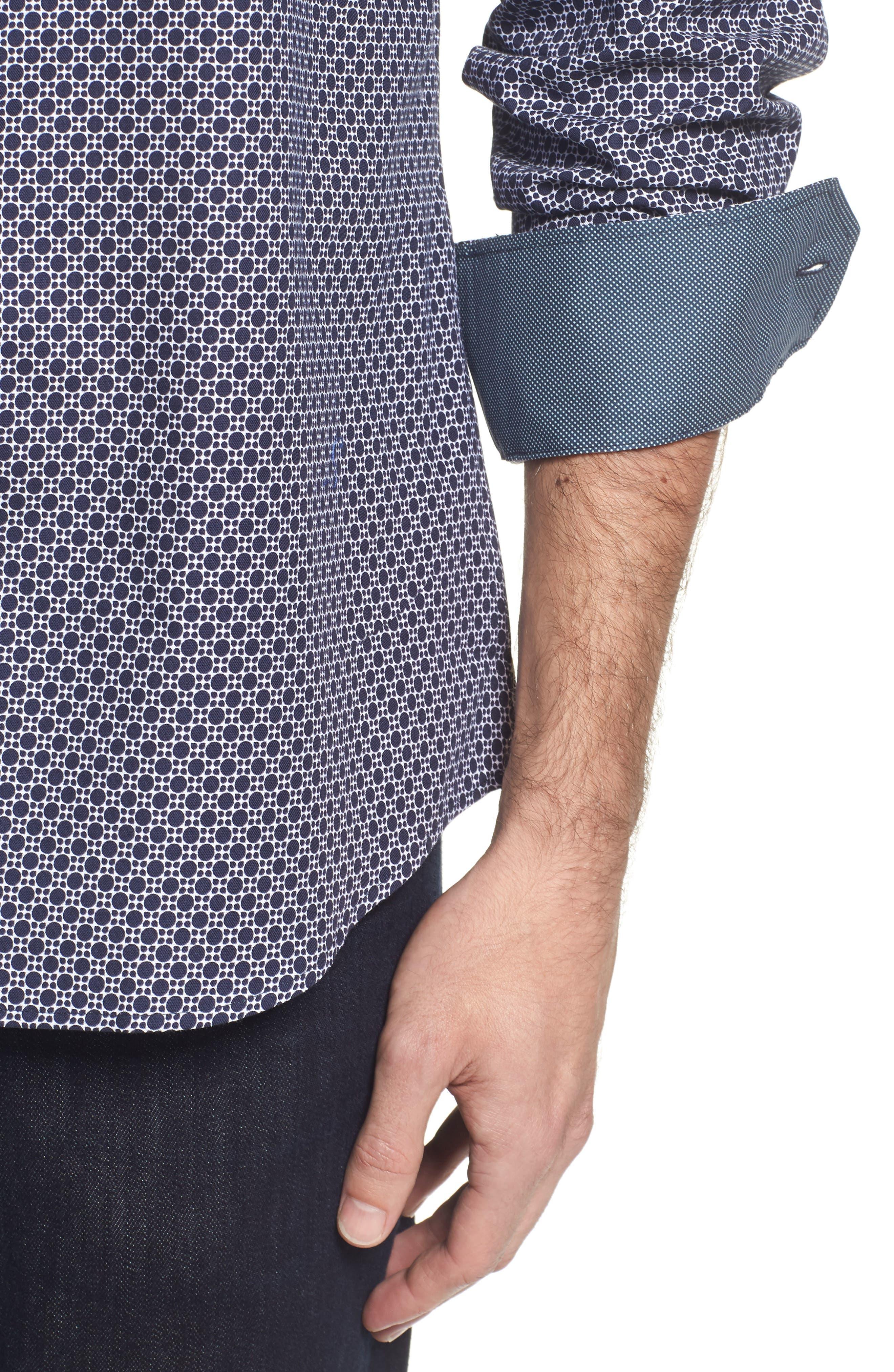 Classic Fit Dot Print Sport Shirt,                             Alternate thumbnail 4, color,