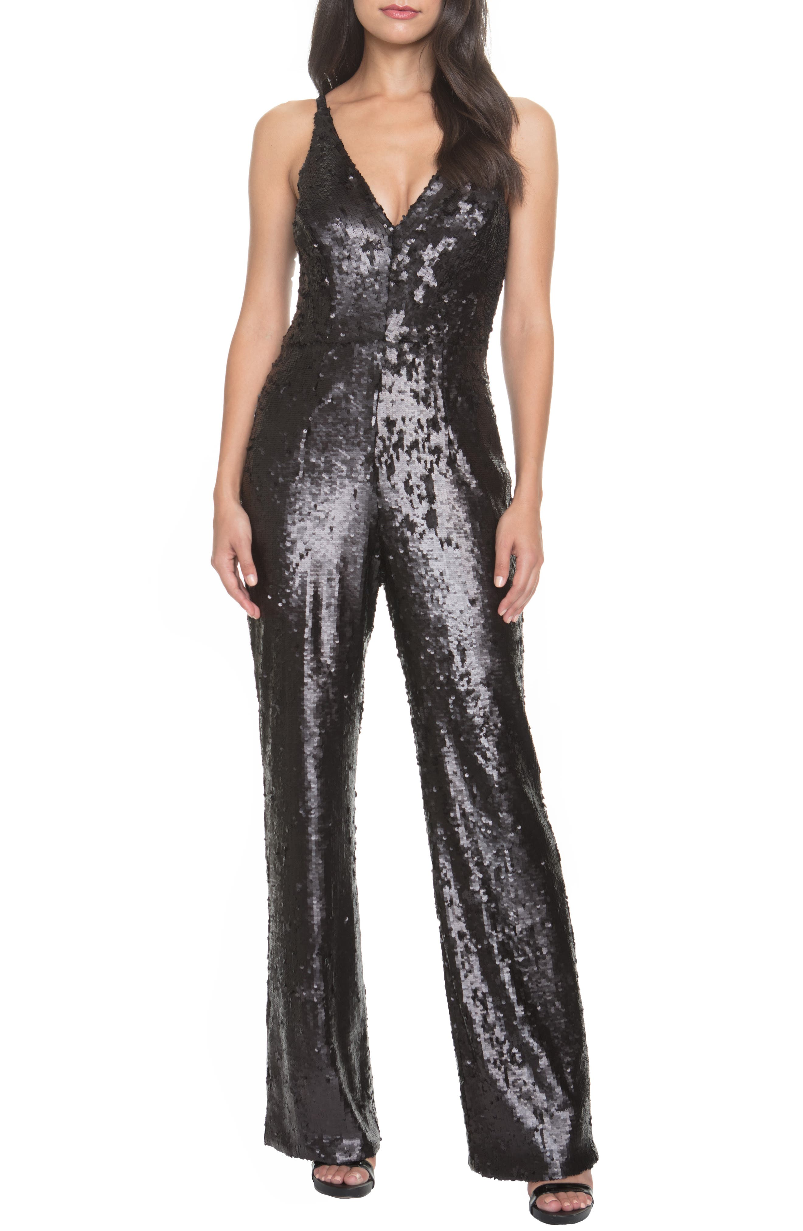 Vintage High Waisted Trousers, Sailor Pants, Jeans Womens Dress The Population Charlie Sequin Jumpsuit Size X-Large - Black $178.80 AT vintagedancer.com