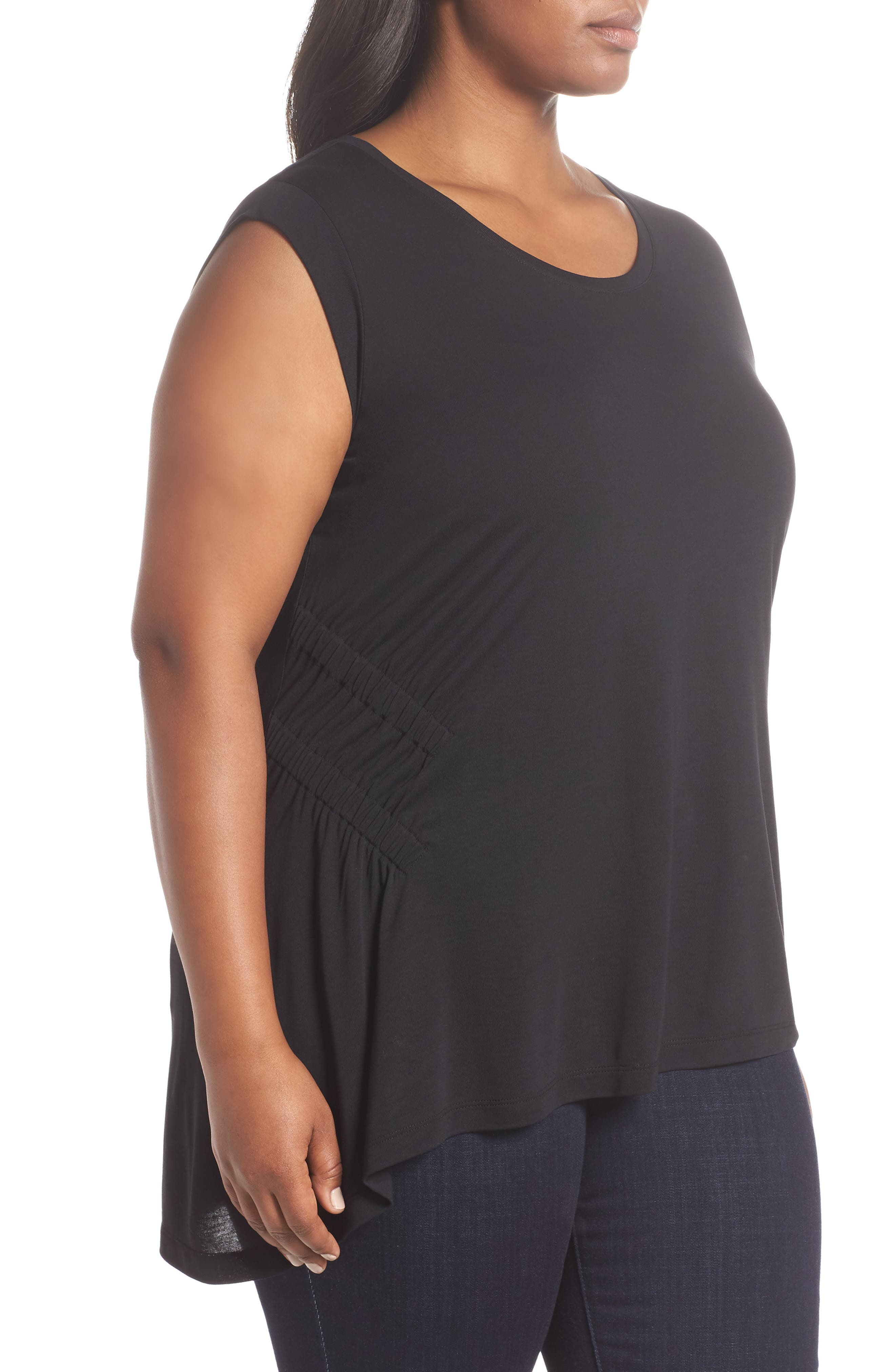 Sleeveless Ruched Asymmetrical Top,                             Alternate thumbnail 3, color,                             001