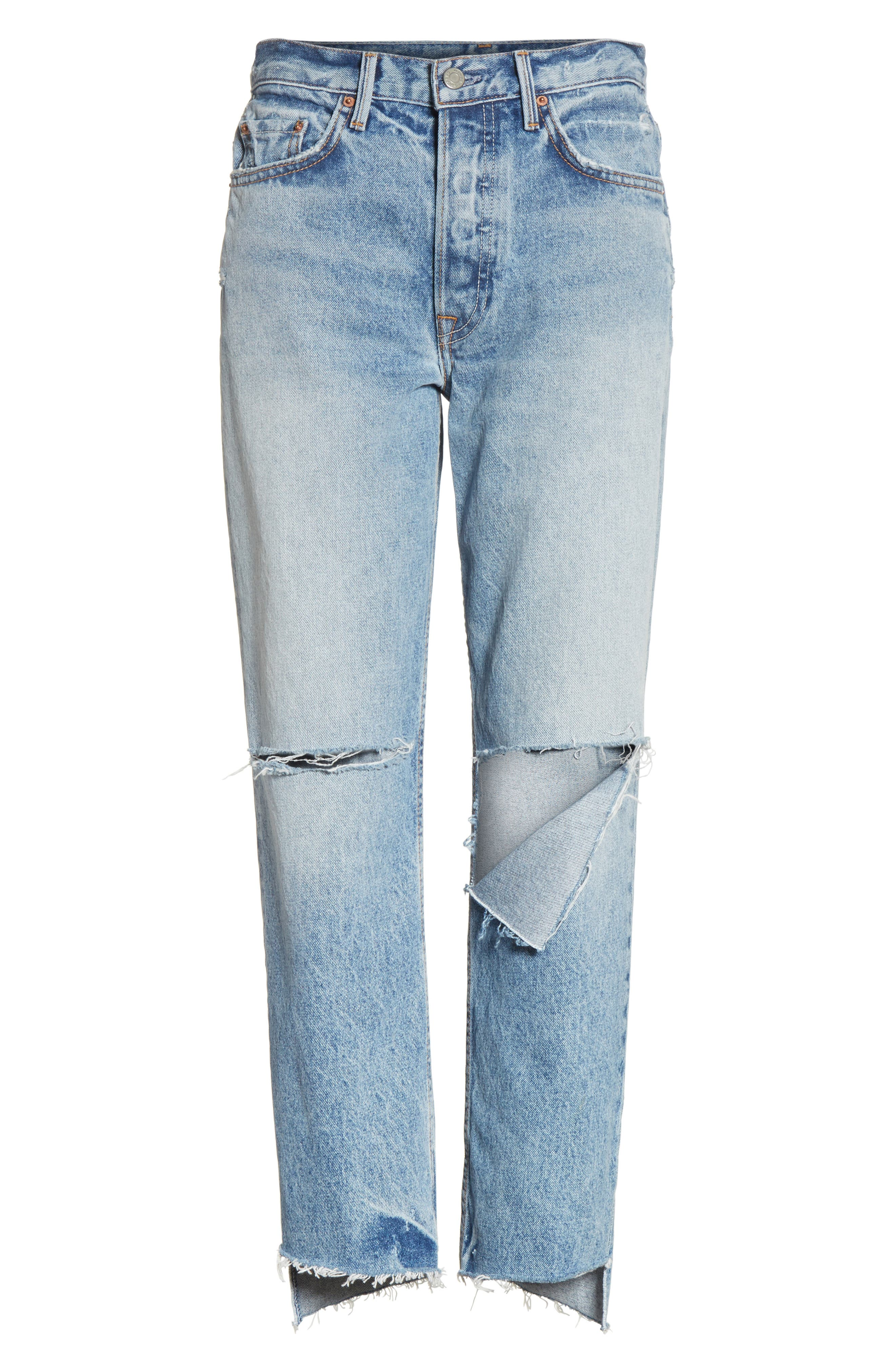 Helena Ripped Rigid High Waist Straight Jeans,                             Alternate thumbnail 6, color,                             470