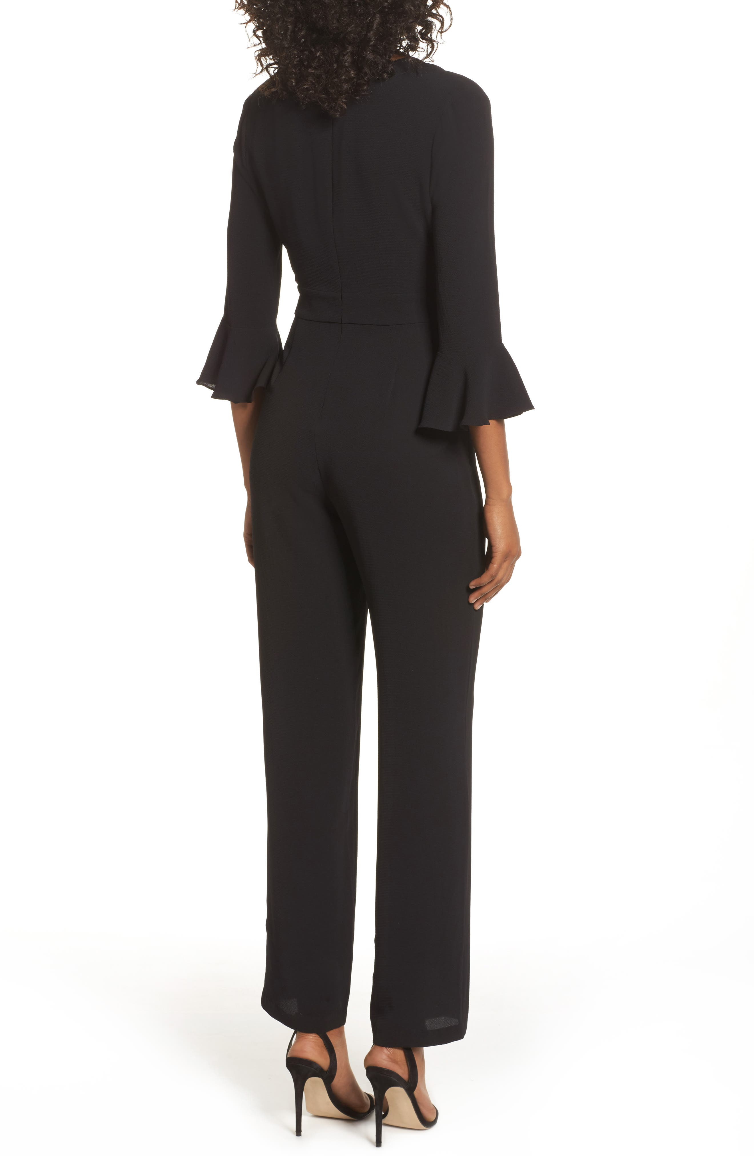 Flare Cuff Jumpsuit,                             Alternate thumbnail 2, color,                             001